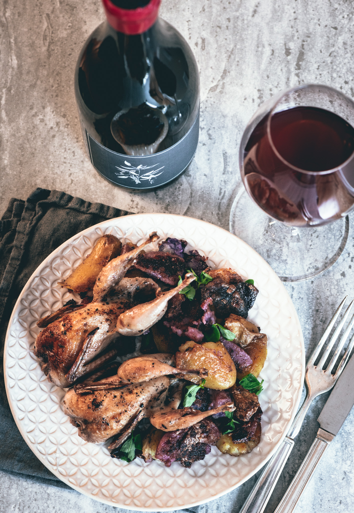 In the spirit of northern California  : Quail, crispy cast iron potatoes and garlic, snow pea micro greens : pair with light-bodied North Coast reds (2016 Arnot-Roberts Trousseau pictured here)