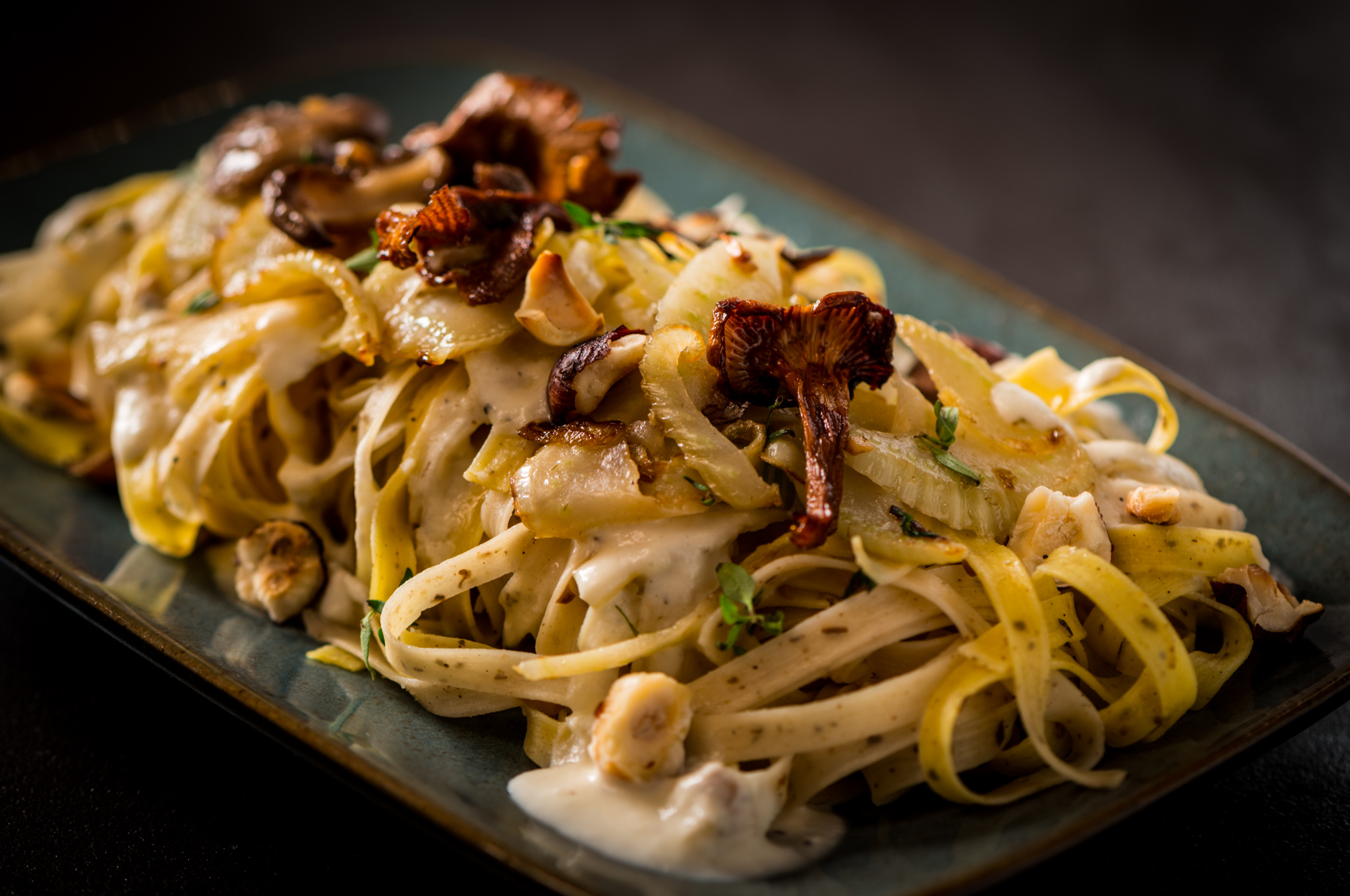In the spirit of Piedmont, Italy  : Sage fettuccine, toasted hazelnuts, sautéed mushrooms and fennel, fresh thyme, Parmigiano-black pepper crema : Pair with Nebbiolo, Barbera or Dolcetto