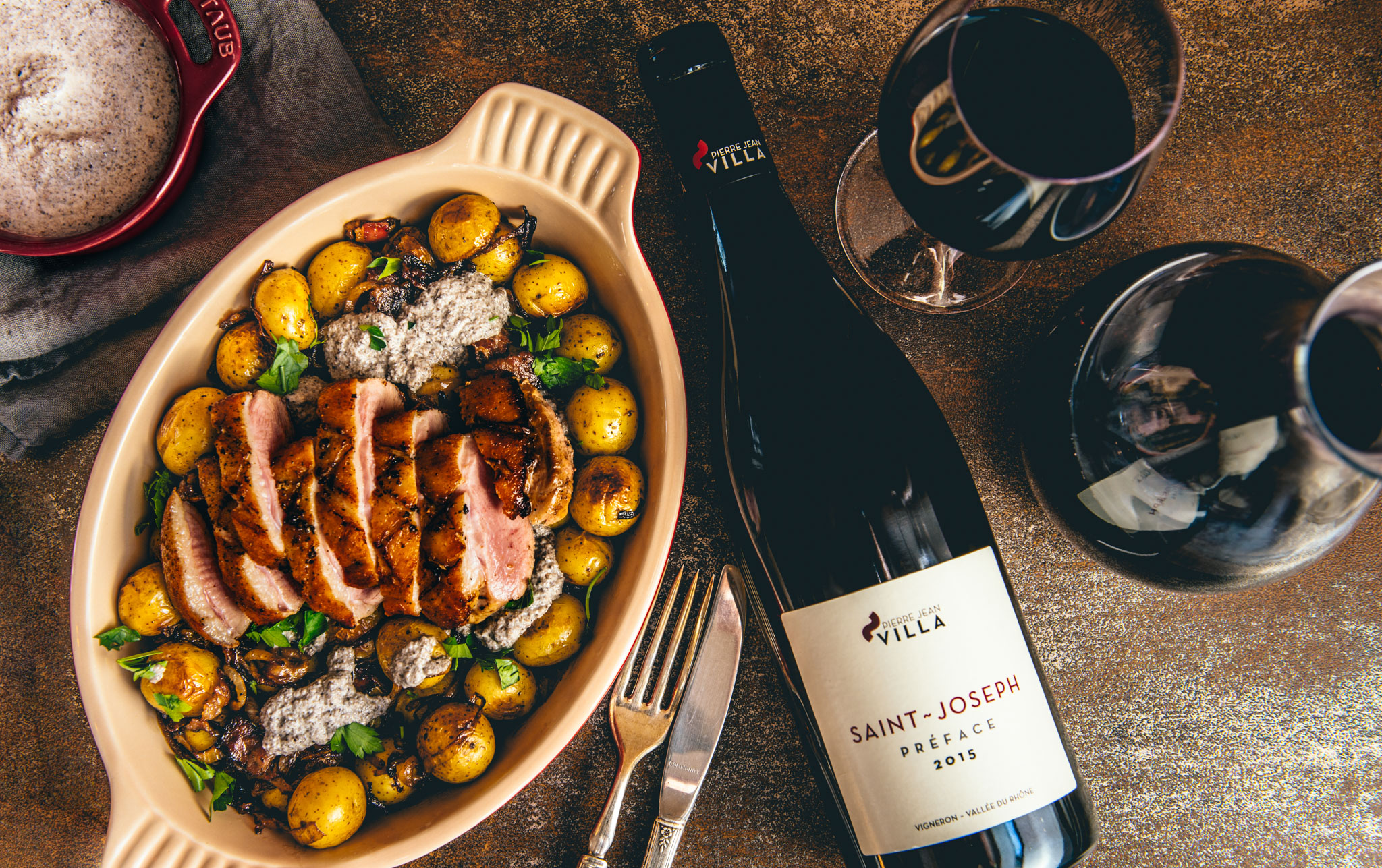 """In the spirit of the northern Rhone, France : Duck with pan-roasted potatoes, onion and bacon, mushroom cream sauce : Paired with 2015 Pierre Jean Villa's """"Preface"""" Saint-Joseph"""