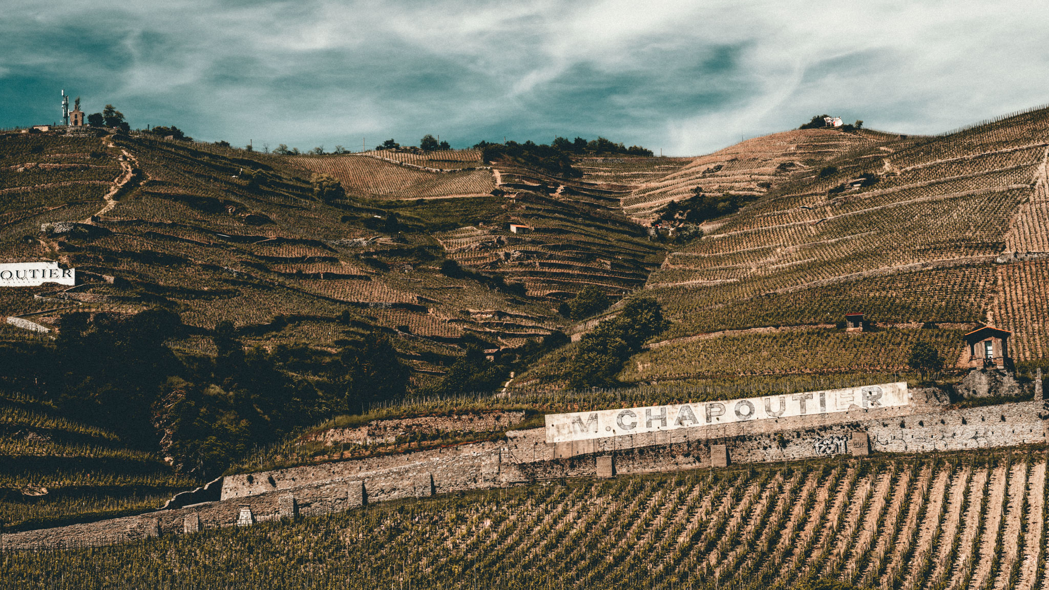 France : Northern Rhone : l'Ermite vineyard, Hermitage hill