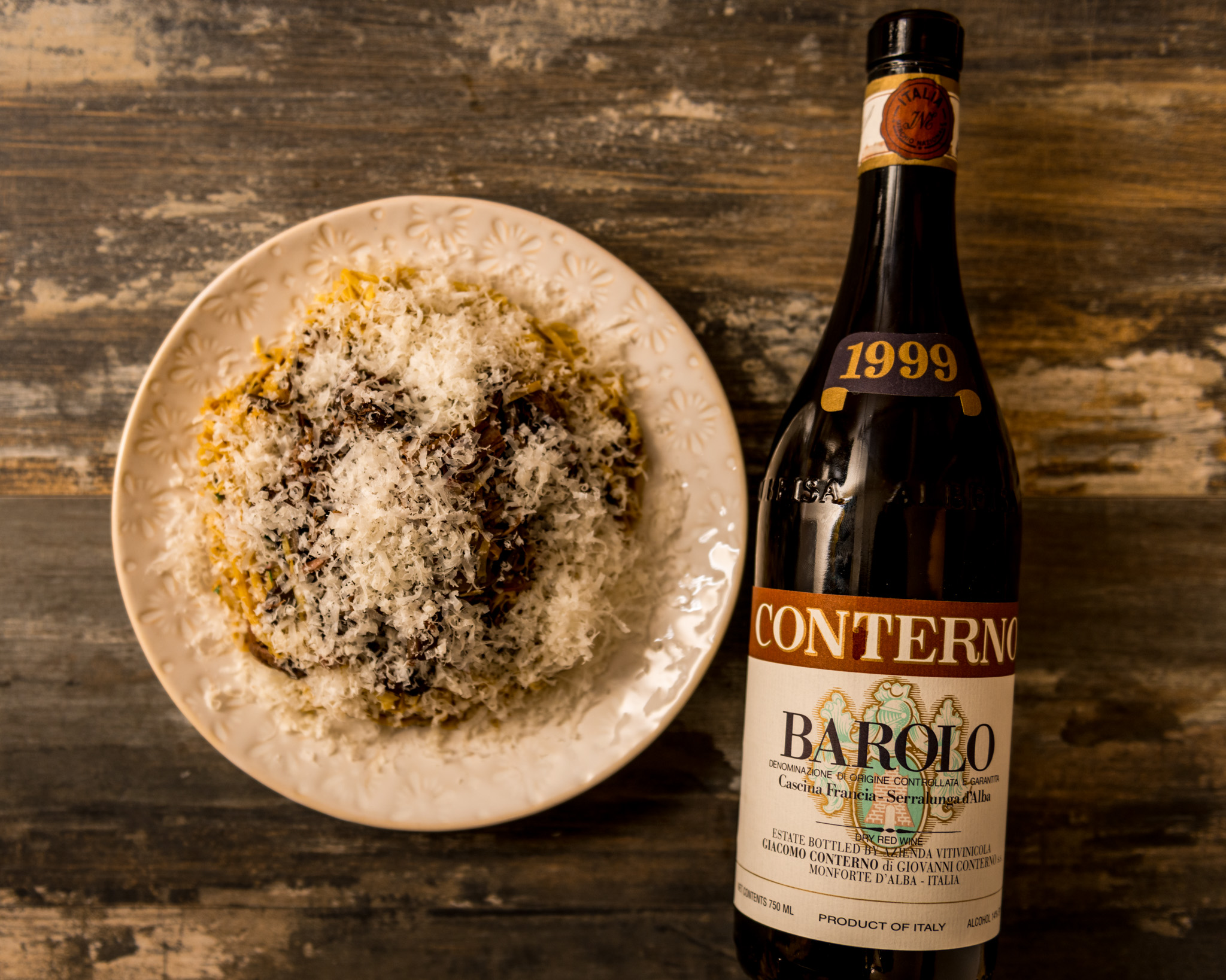 In the spirit of Piedmont, Italy  : Handmade tajarin with braised lamb and mushroom, topped with a hefty grating of Parmigiano : Paired with 1999 Giacomo Conterno Barolo Cascina Francia