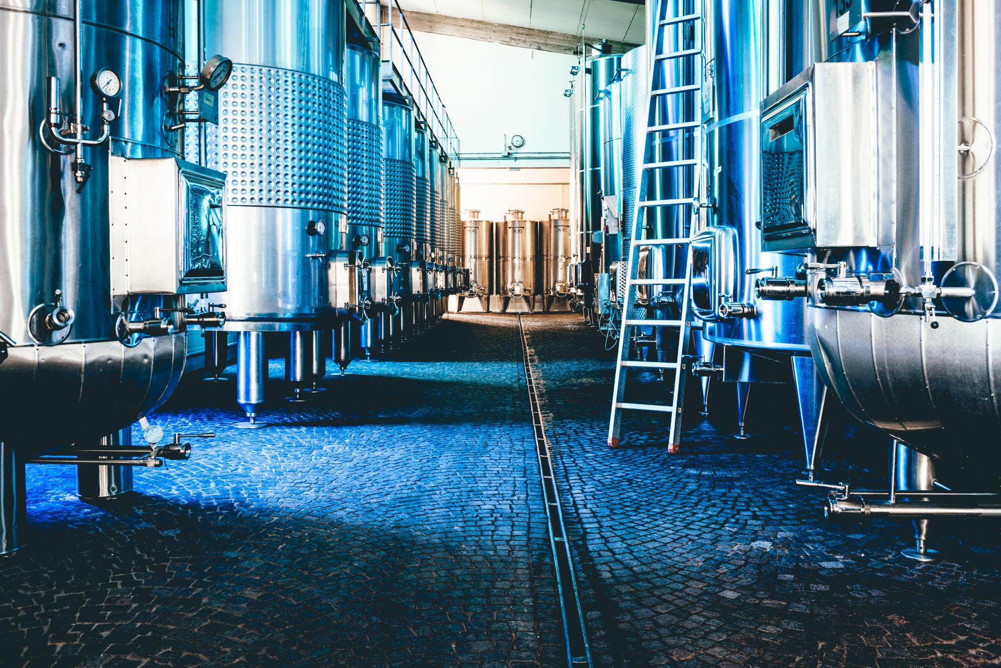 Italy : Piedmont : Fermentation tanks at G.D. Vajra