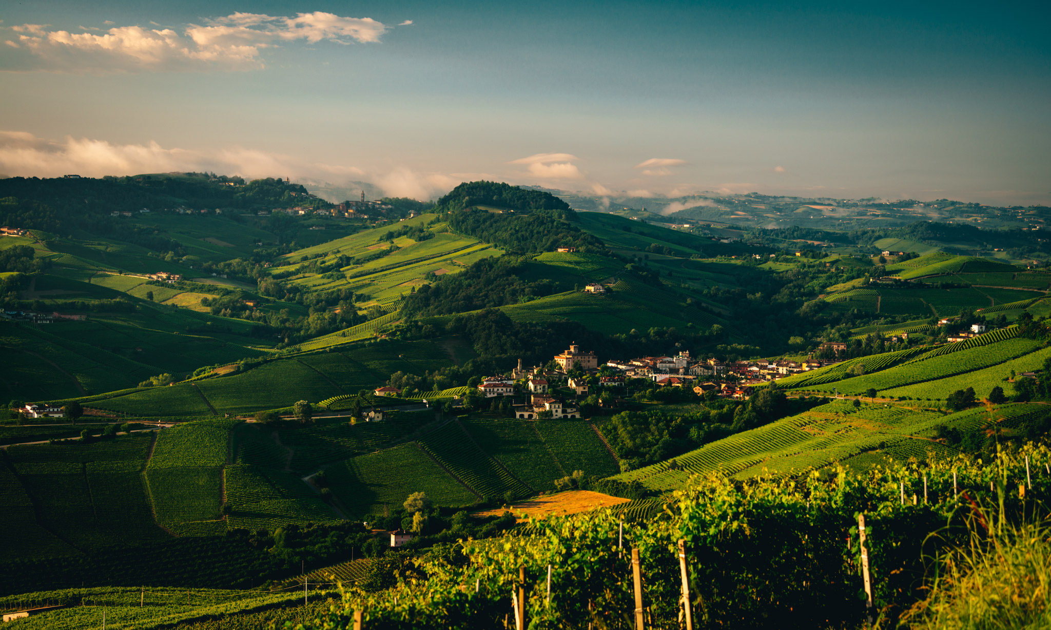 Italy : Piedmont : Morning clouds over Barolo