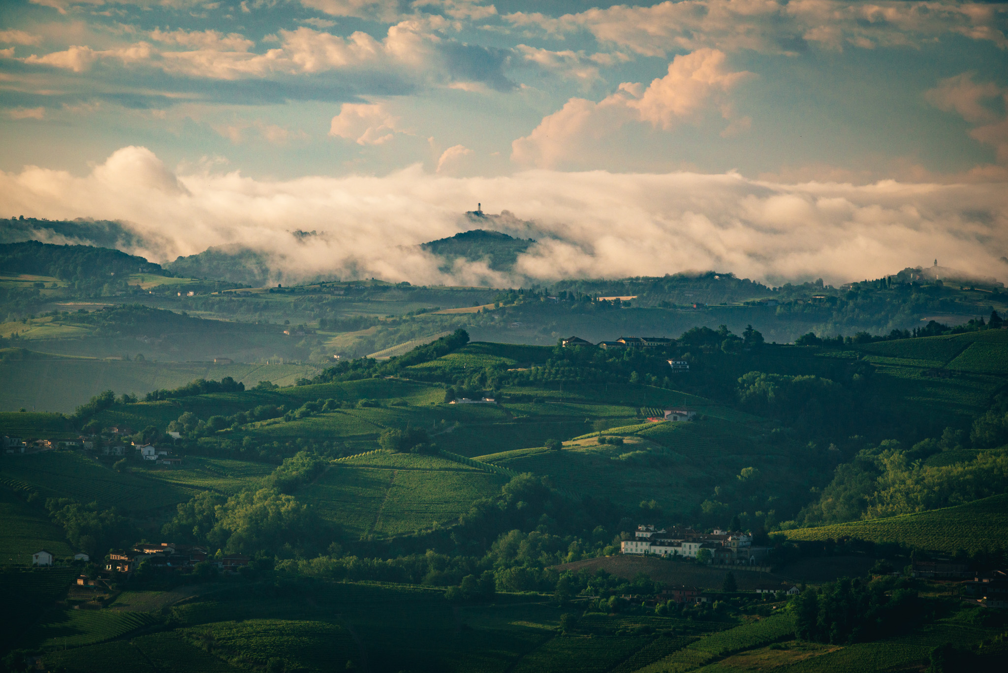 Italy : Piedmont : Clouds over Barolo