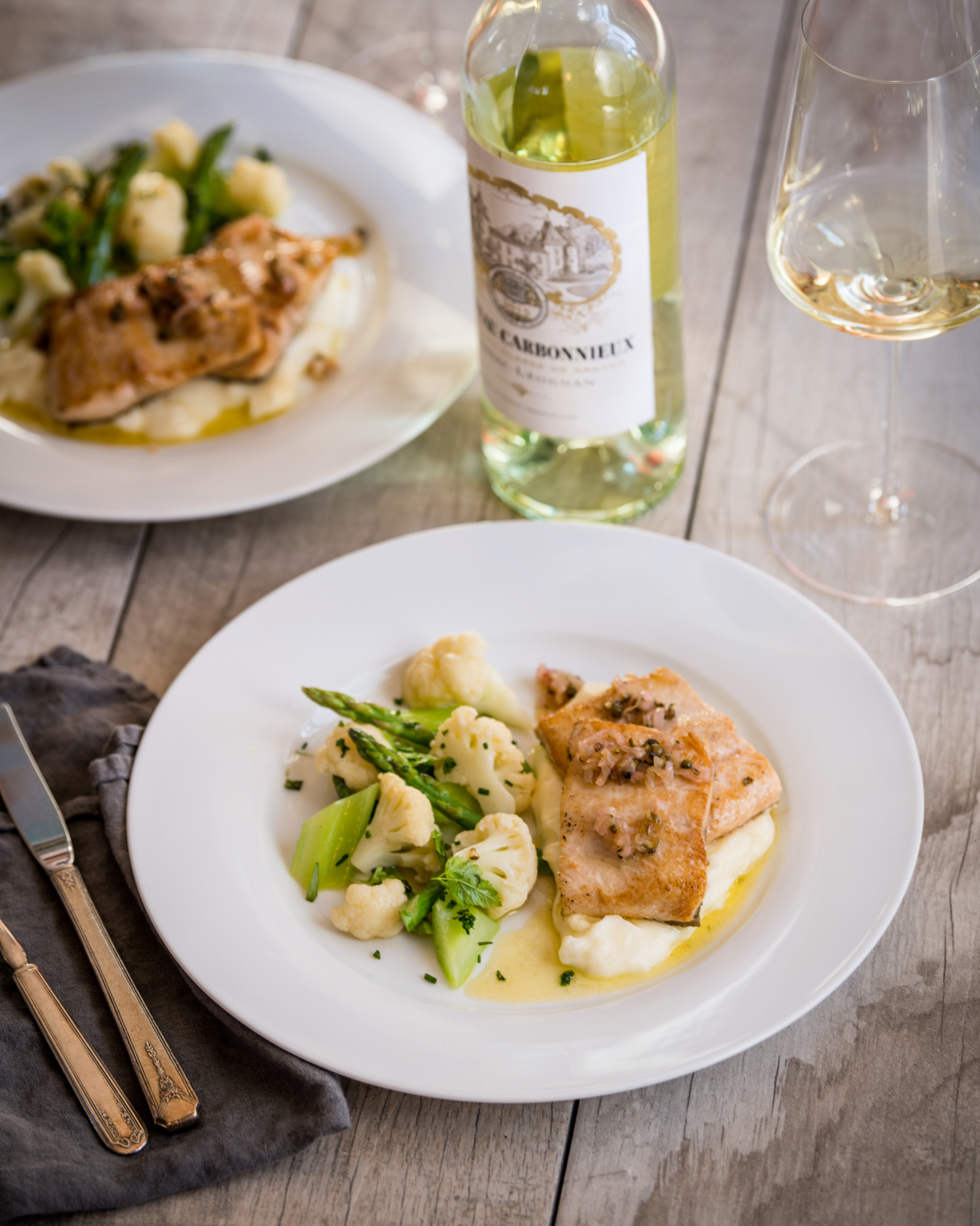 In the spirit of Bordeaux, France  : Sautéed trout with shallot and green peppercorn, whipped potatoes, vegetables with tarragon and butter : Paired with Carbonnieux blanc
