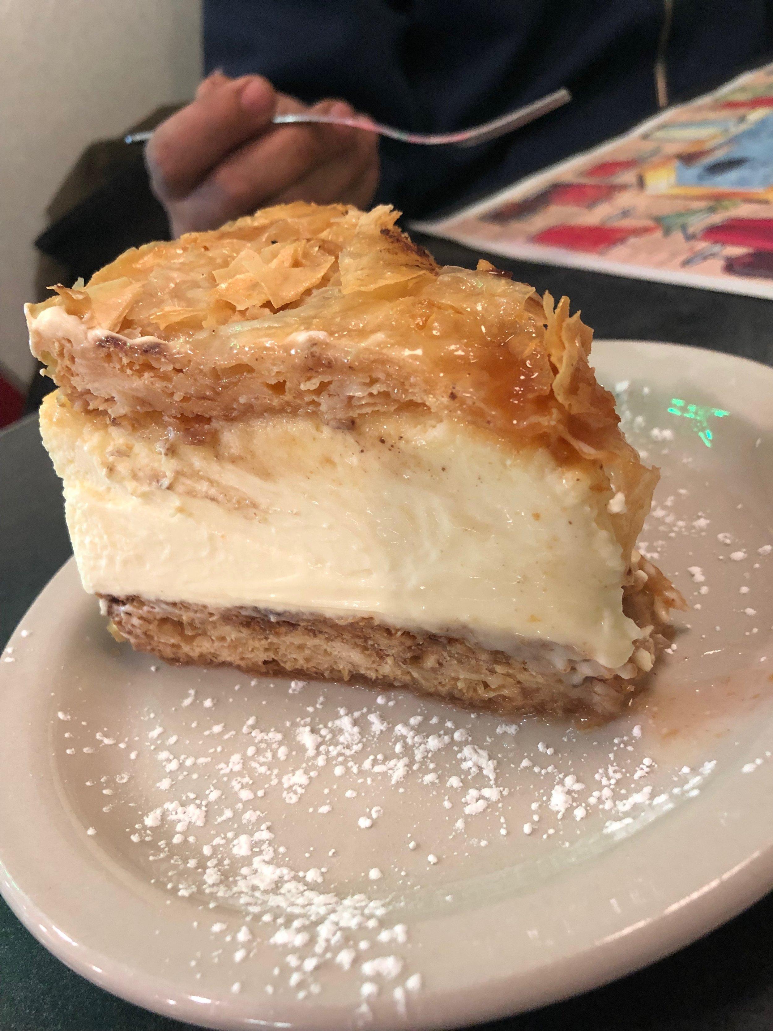 It's baklava. It's cheesecake. God damn - it's baklava cheesecake.