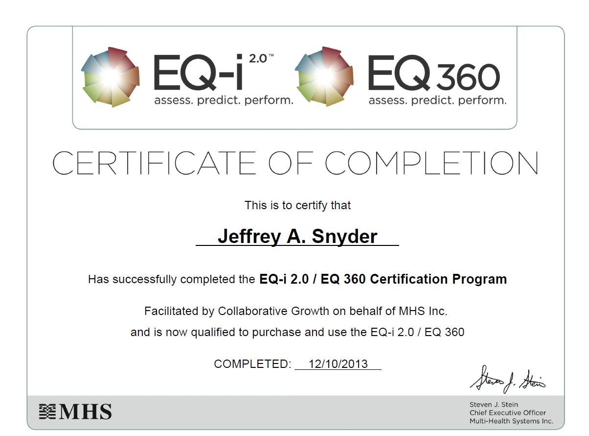 Jeff Snyder Emotional Intelligence Coaching Certification
