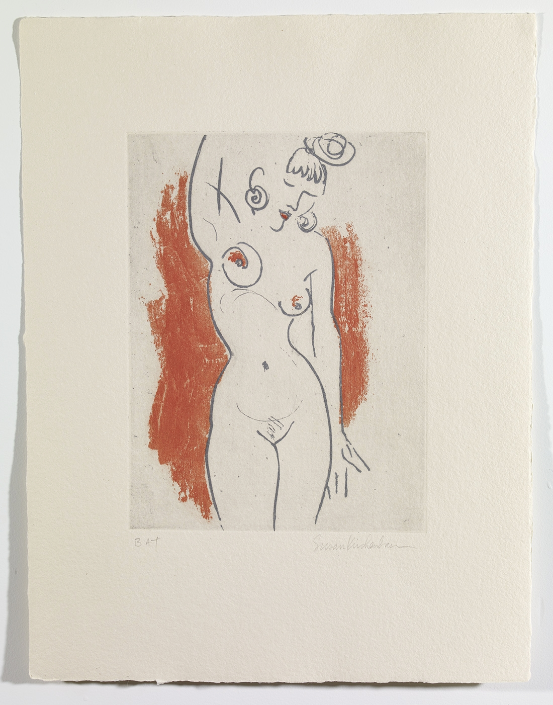Her Earrings  Etching on handmade paper  © 2005 susan r kirshenbaum