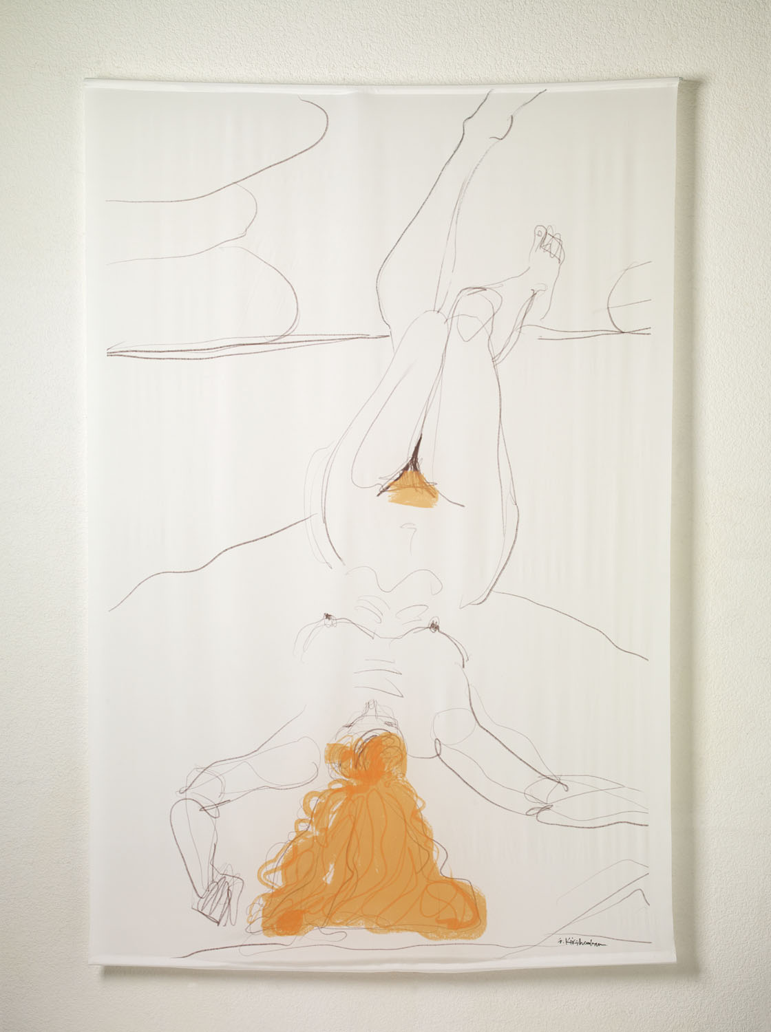 White Silk Scroll Series: Red Hair, Curly and Straight, Reclining