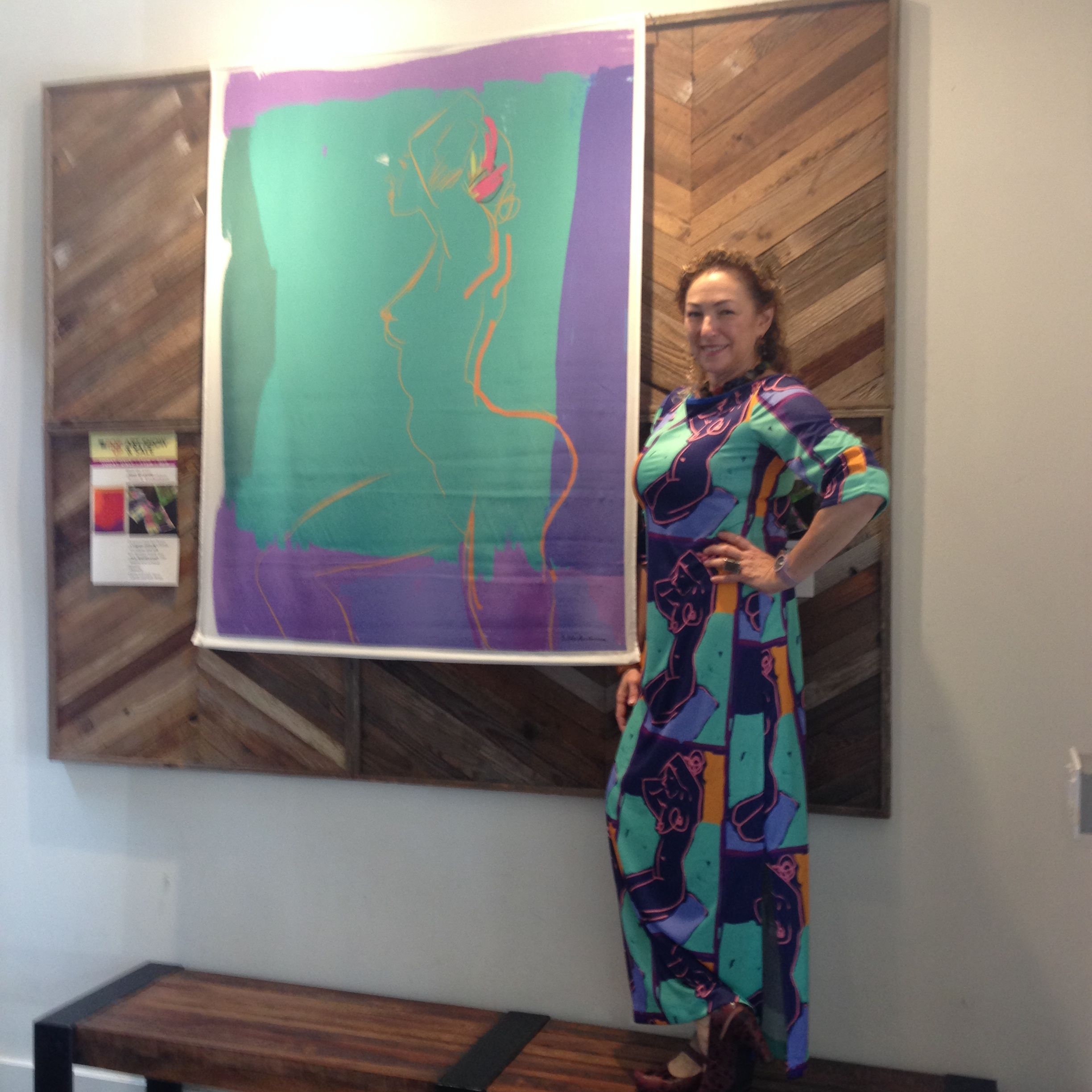 "That's me in one of my art dresses with one of my ""Color Block"" silk scrolls."