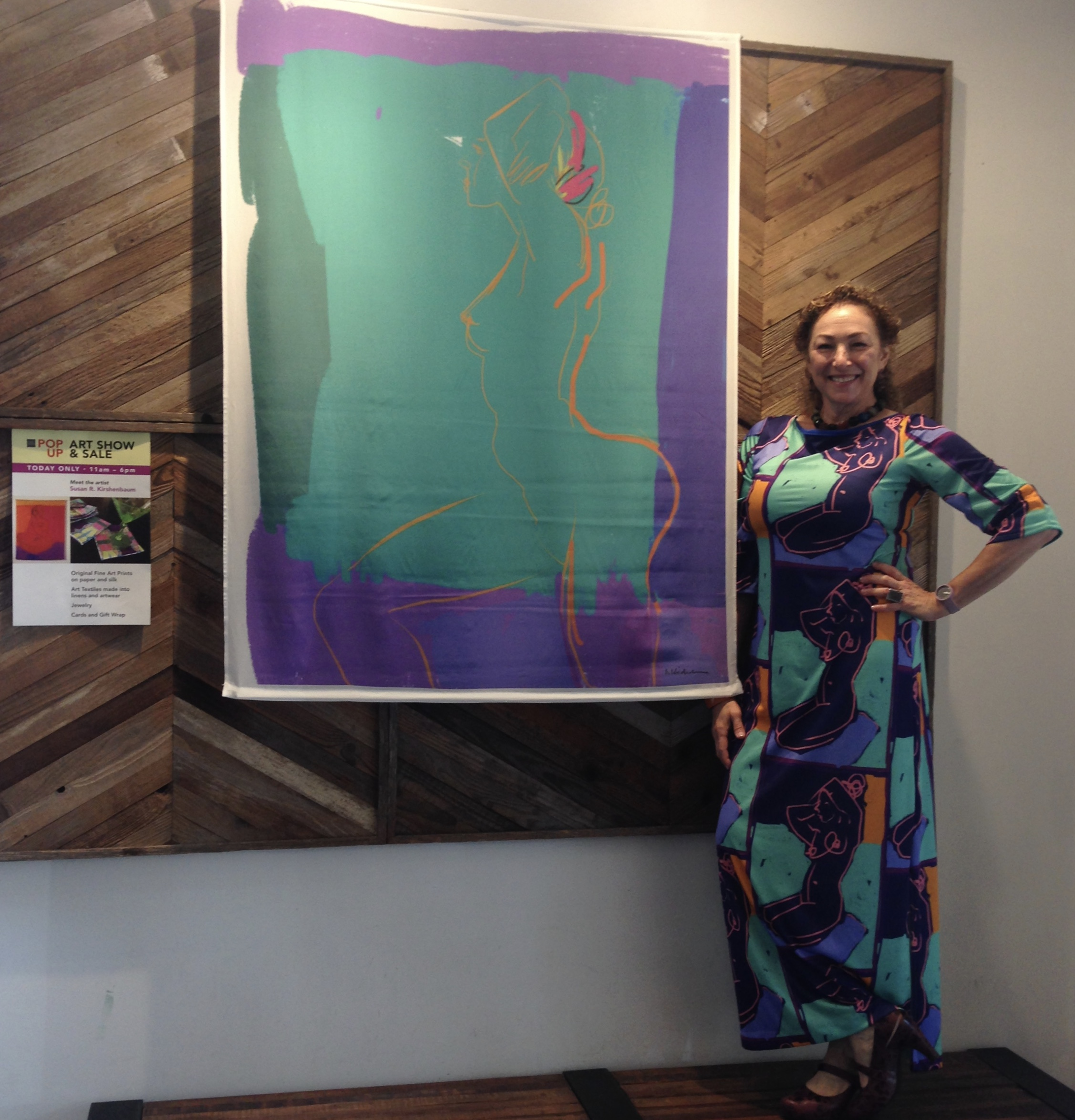 I'm  wearing one of my art dresses next to one of my color block silk scrolls  at the Maker & Moss pop-up.
