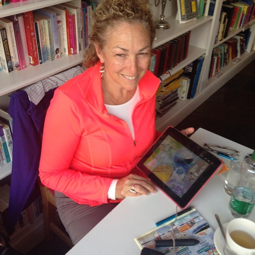 Working on my iPad at an art retreat in Kinsale, Ireland in the summer of 2015.