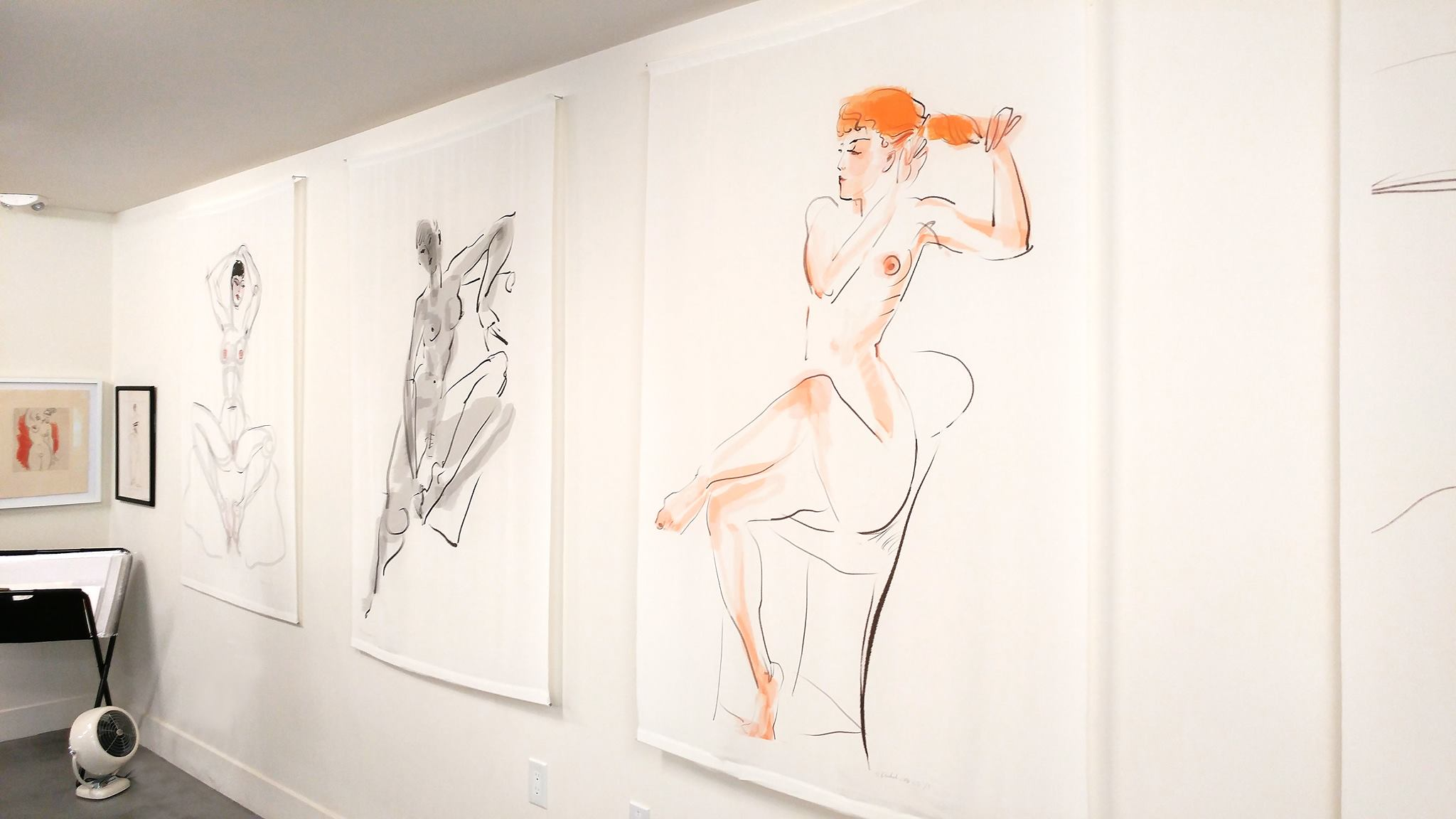 Installation view of White Silk Scroll series