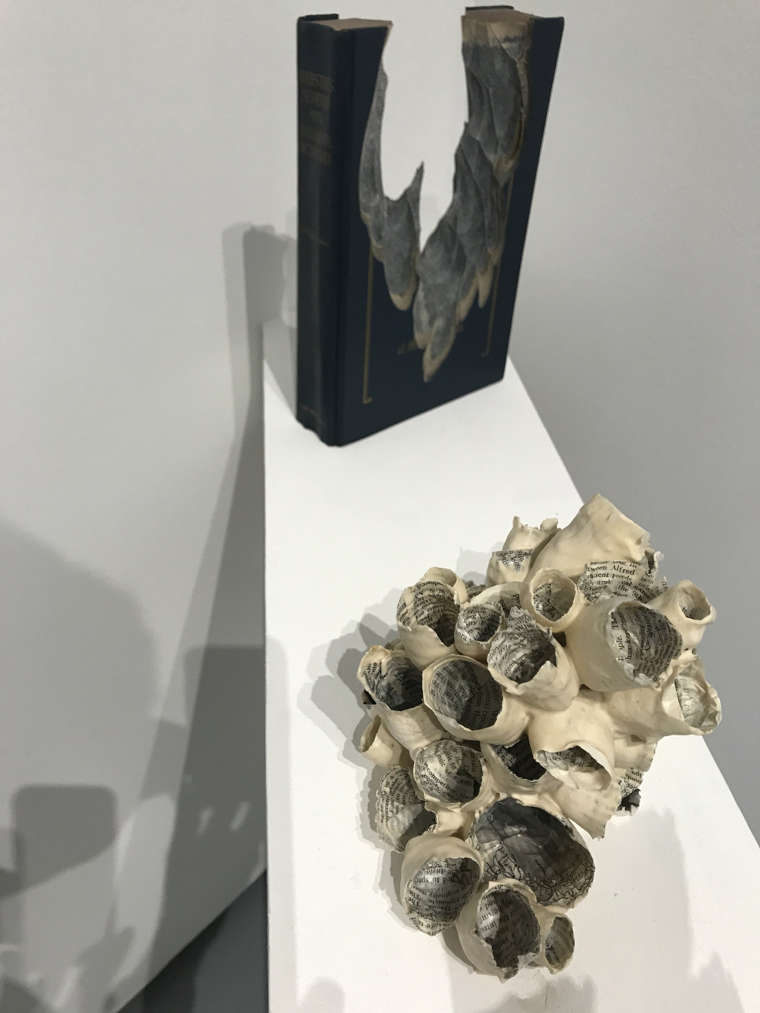 Wax was used in these book art pieces by Jessica Drenk, 2017, Galleri Urbane Dallas.