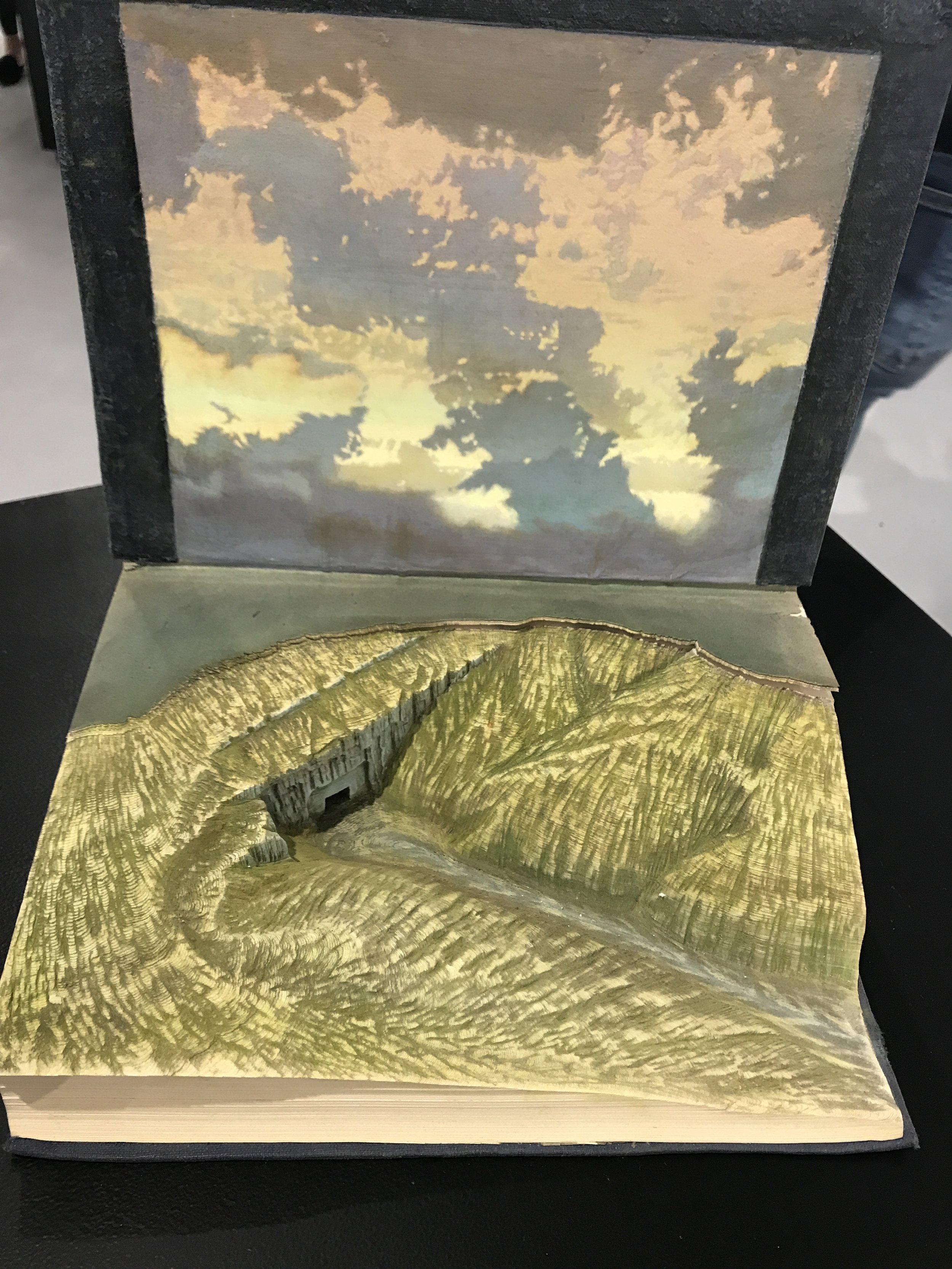 This fantastic book is carved like rock with a portal entry.