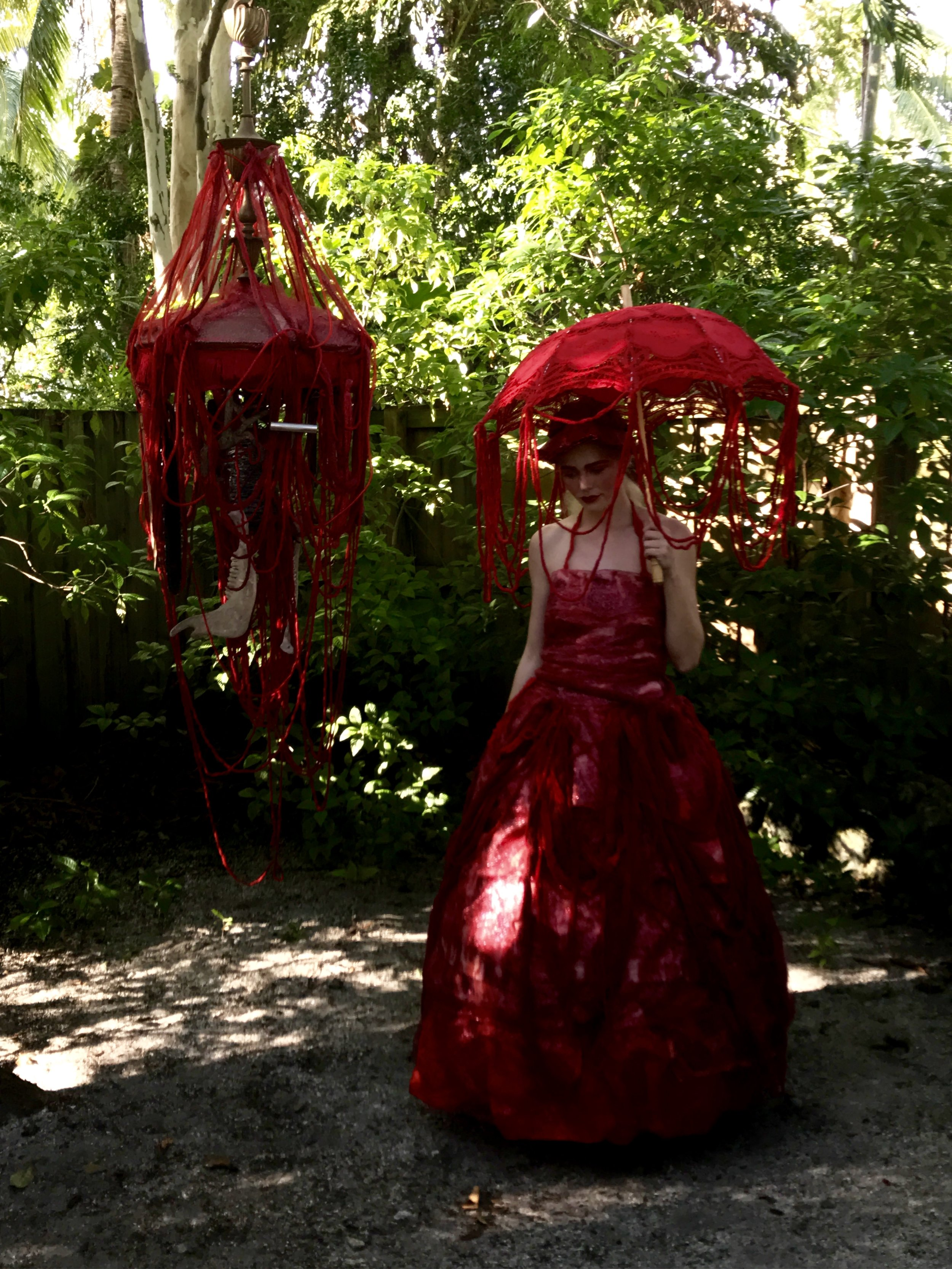 """""""You are what you eat""""is a piece of student performance art in the Casa Lin garden."""