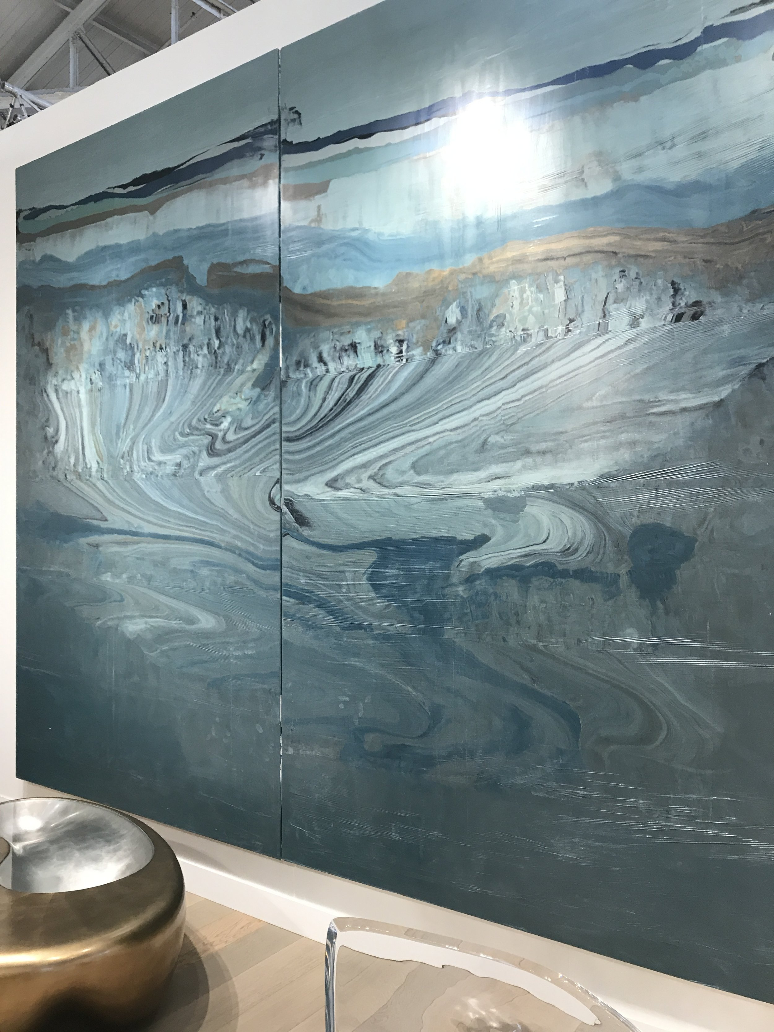 "At Fog you could see this huge and sumptuous diptych which is marbleized and ""spread"" onto canvas."