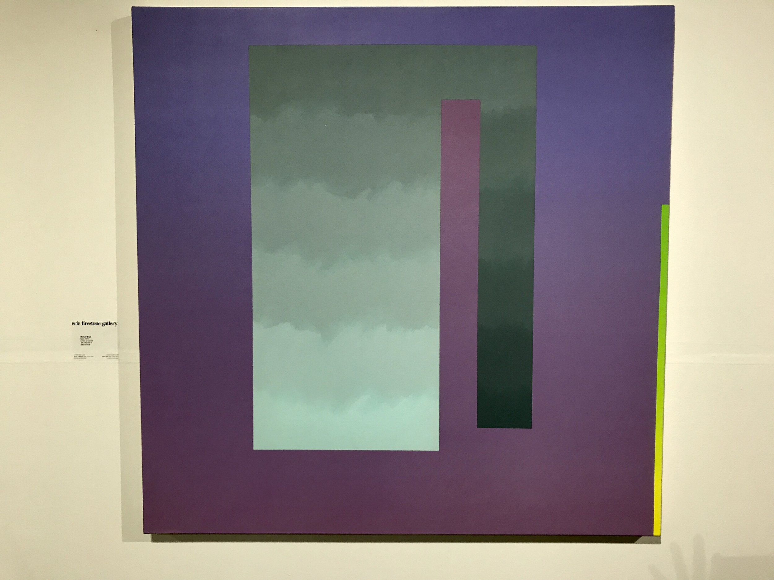 I enjoyed this painting (at Untitled) which is hard-edged perfectly wed with elements of light and softness. By Michael Boyd, Bijou, 1970, Eric Firestone Gallery.