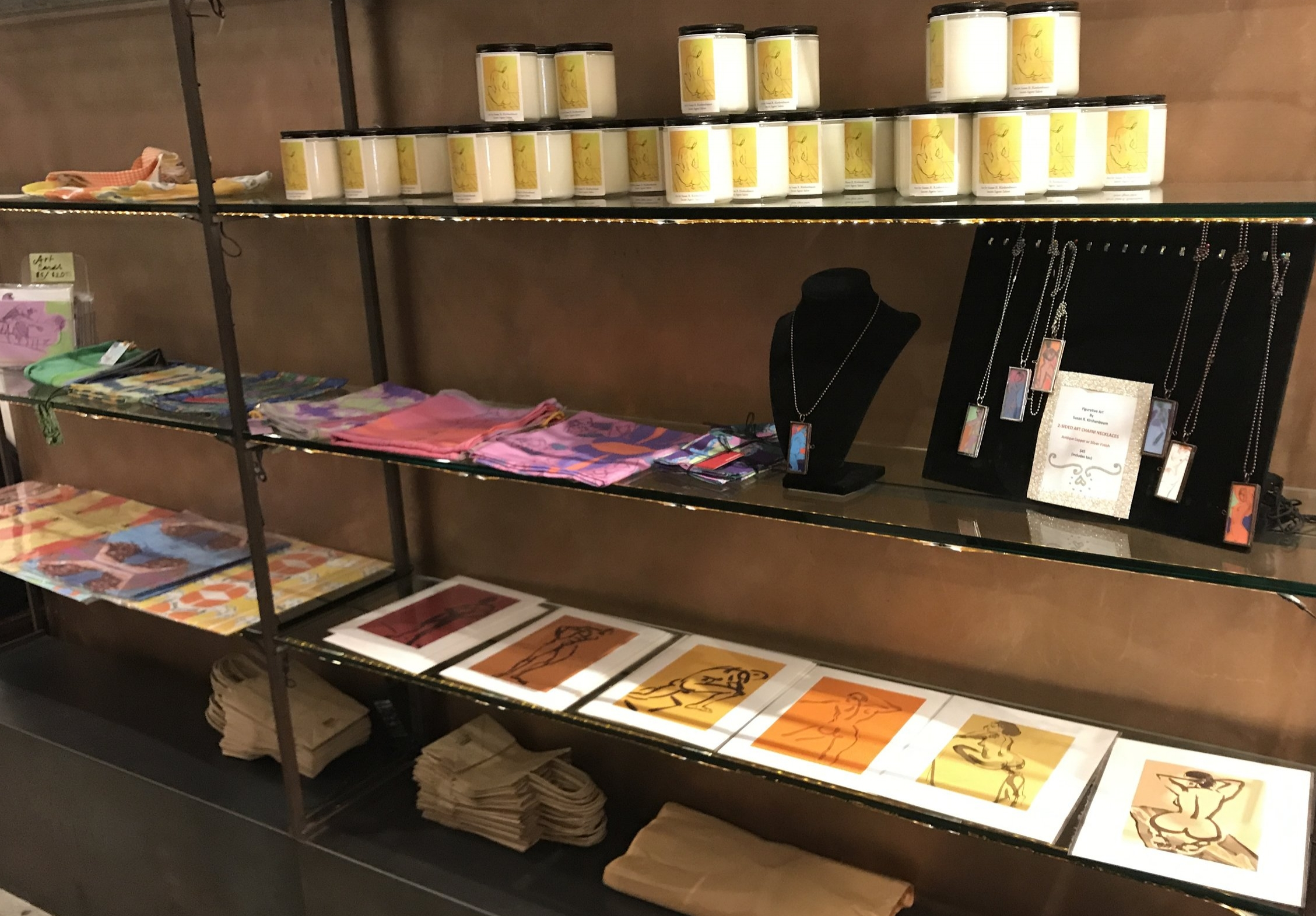 I took over the display shelves for the evening with an array of my art merchandise. My art greeting cards are staying at the shop so you can browse when you stop by.