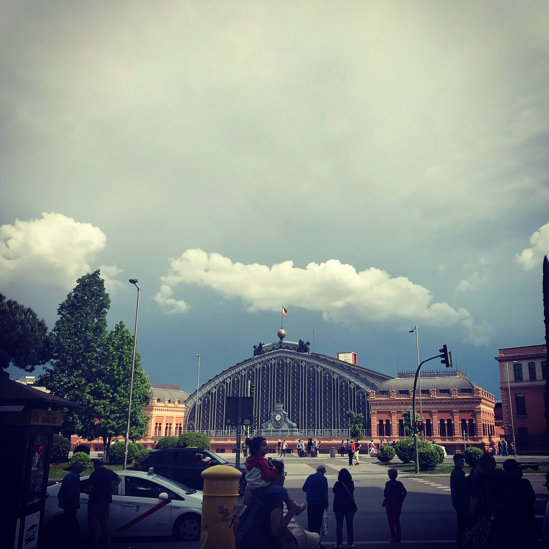Toward the end of our last day in Madrid at the Reina Sophia Museum looking toward the train station, Atocha. We saw so many dramatic skies!