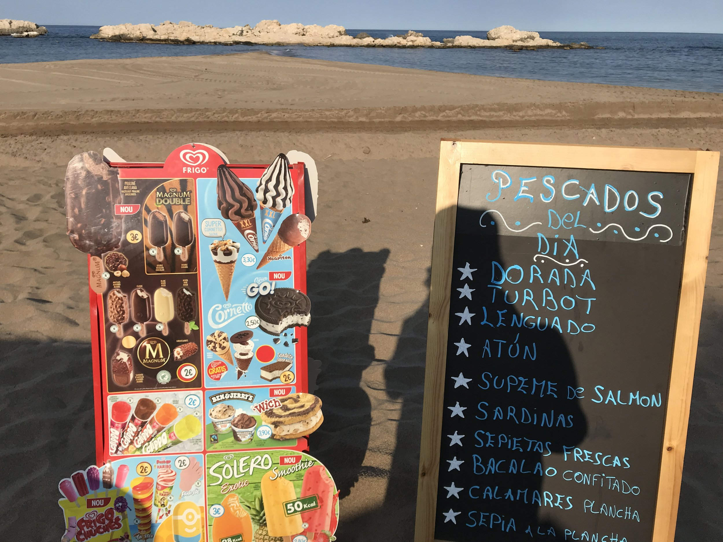 """Even in the off-season we found an open """"chiringita"""" for great coffees on our favorite beach, Sant Marti d'Empuries. This is the other part of Spain where the Phoenicians, Greeks, and Romans traded and left beautiful intact ruins."""