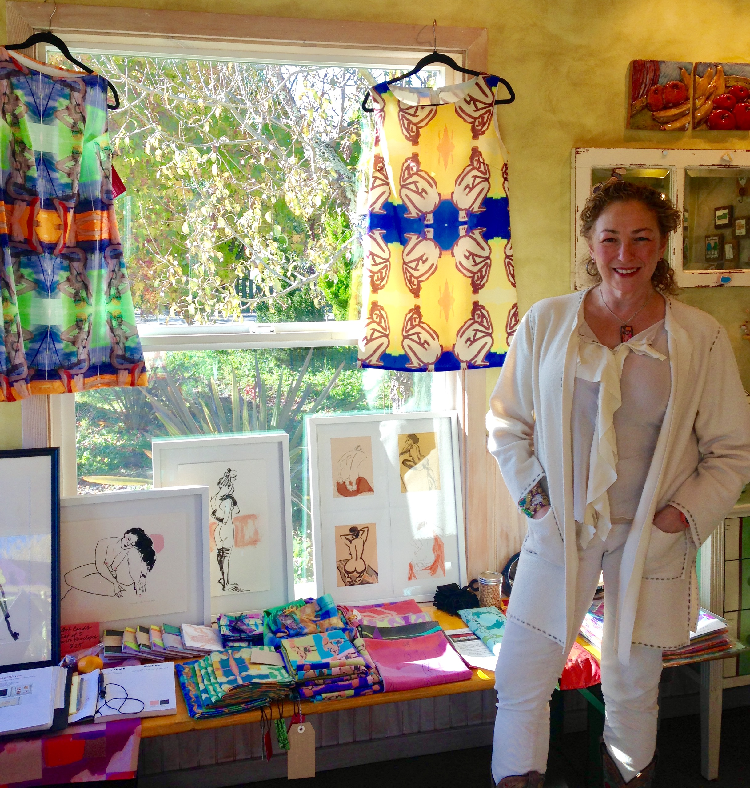 My second Pop-Up had a mixture of art and art merchandise. This was at a friend's lovely blueberry farm in Sebastopol, 2016.