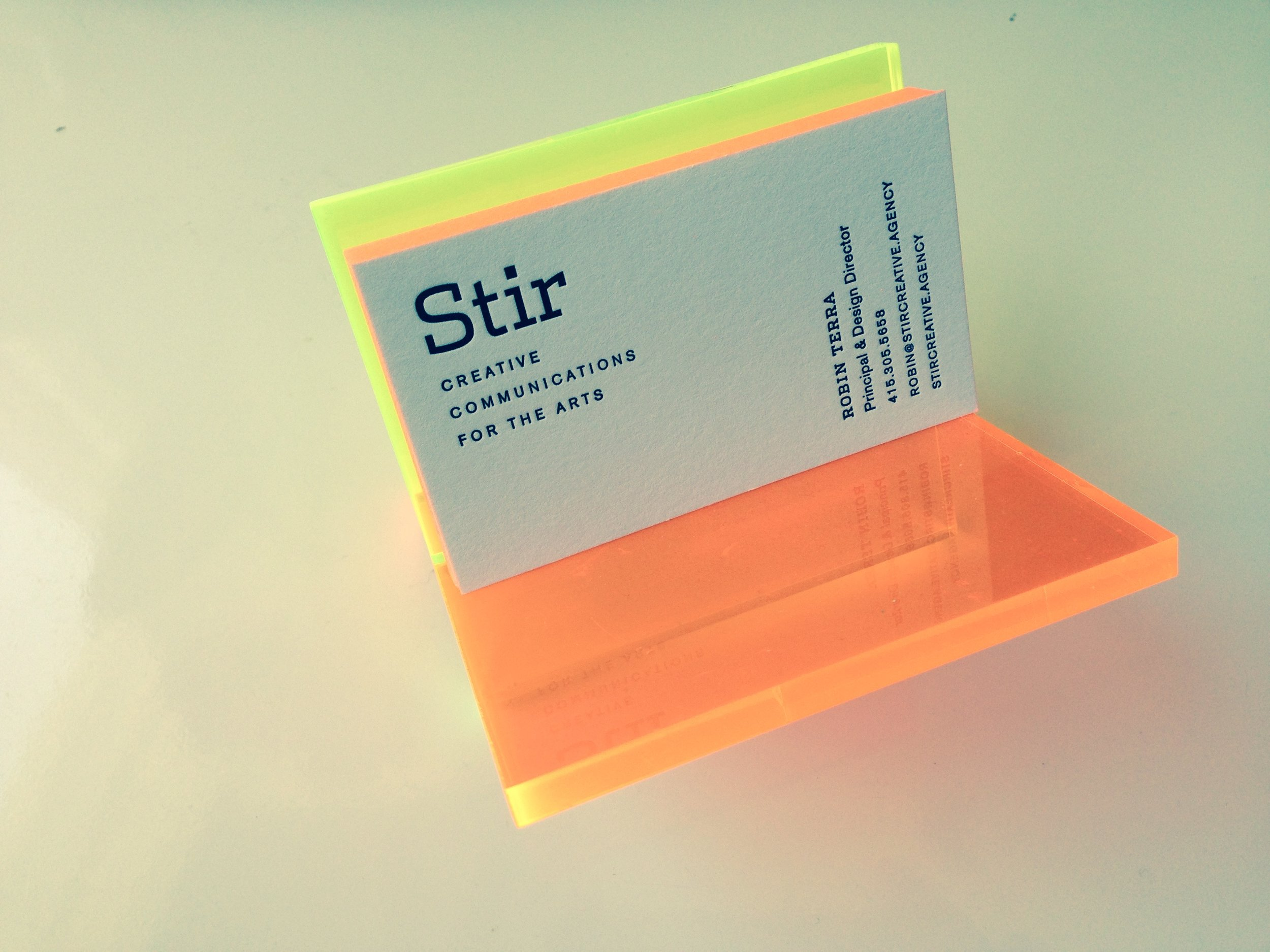 I loved our business cards with their neon orange edges and letterpress type.