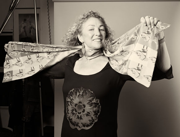 Dave Papas, my photographer friend, had many years of great photo-birthday parties. Here I'm showing off my art scarf - now a collector's item!