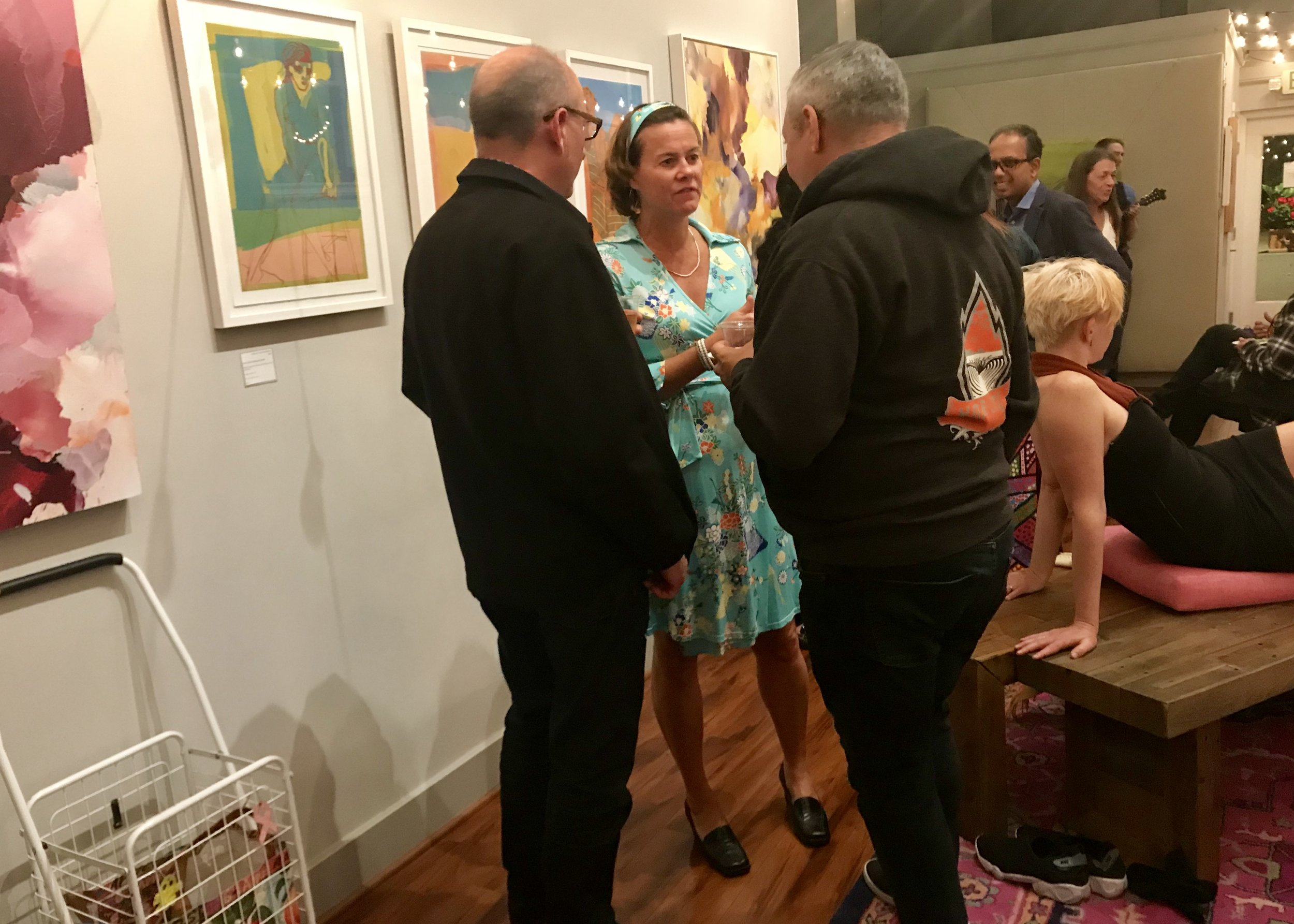 October 2018 reception at Spark Arts Gallery (with model posing on right).