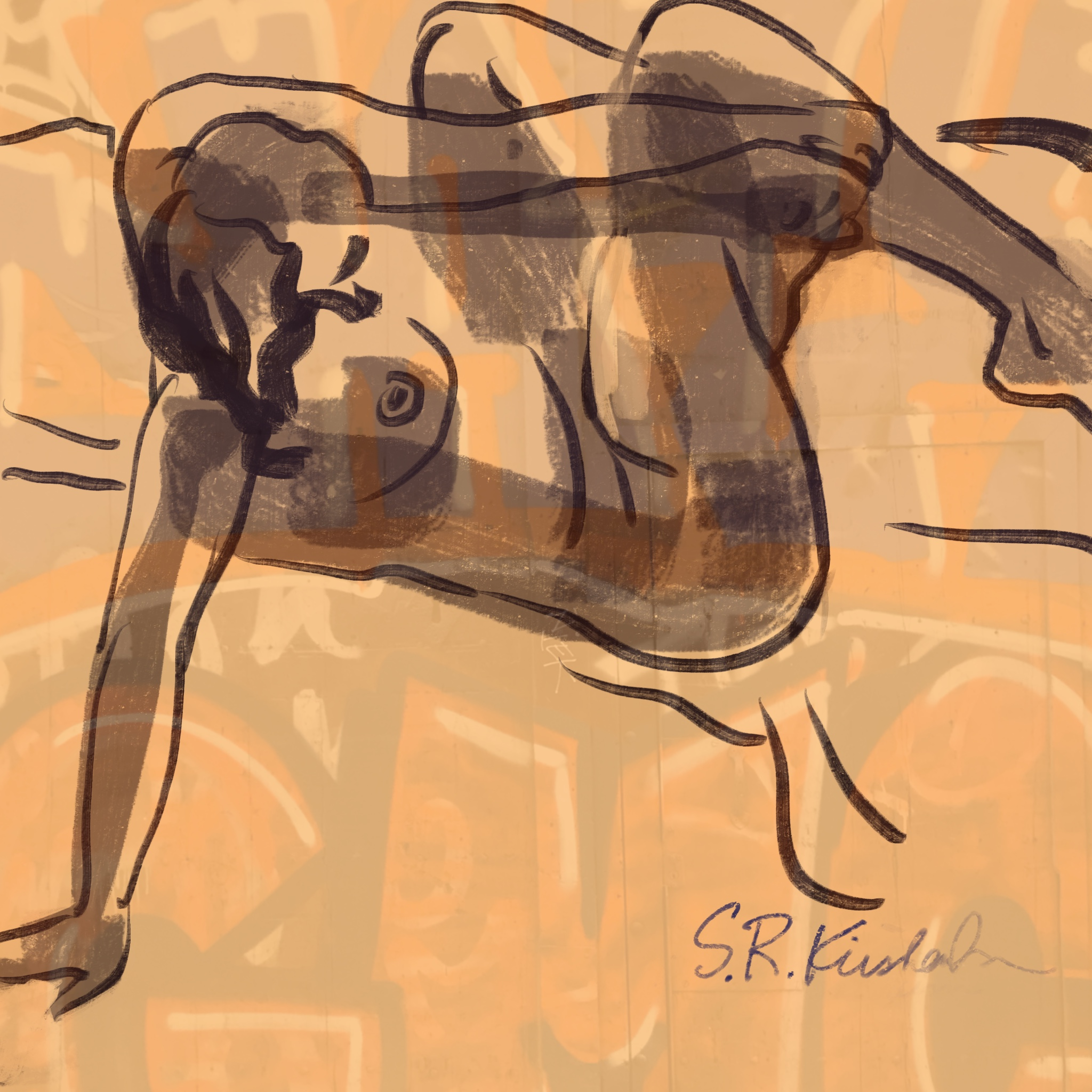 """""""Graffiti Wall Series: Break Dance"""" sold at SNAP! the annual Juried show and sale at Arc."""