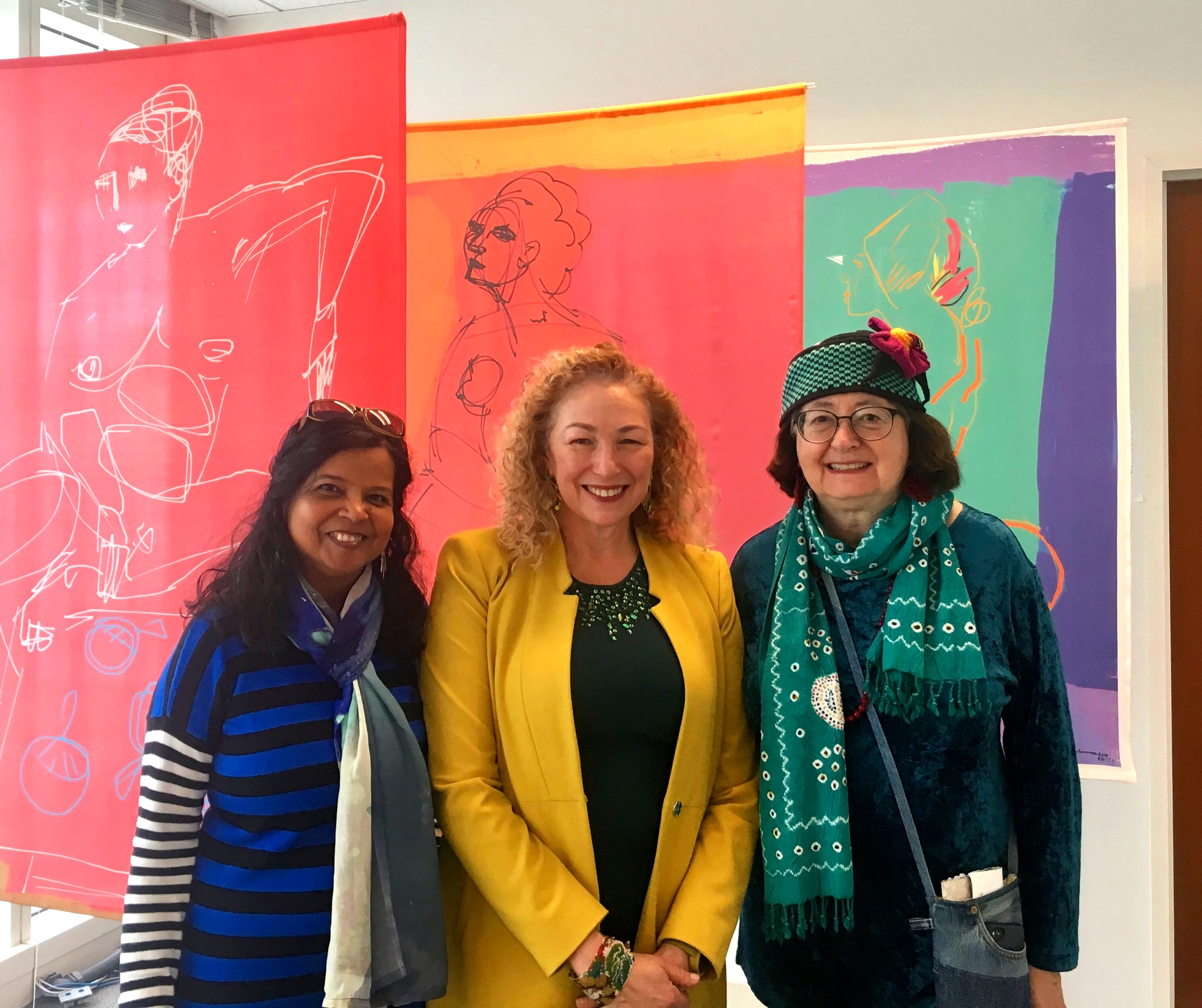 I'm in the center with painter Usha Shukla and textile artist/curator Deborah Corsini. My scrolls are in the background.