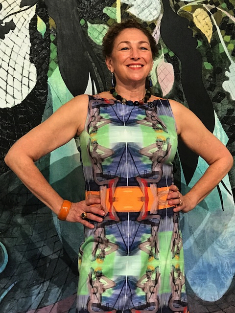 At Miami Art Basel in 2017 wearing one of my handmade art dresses.