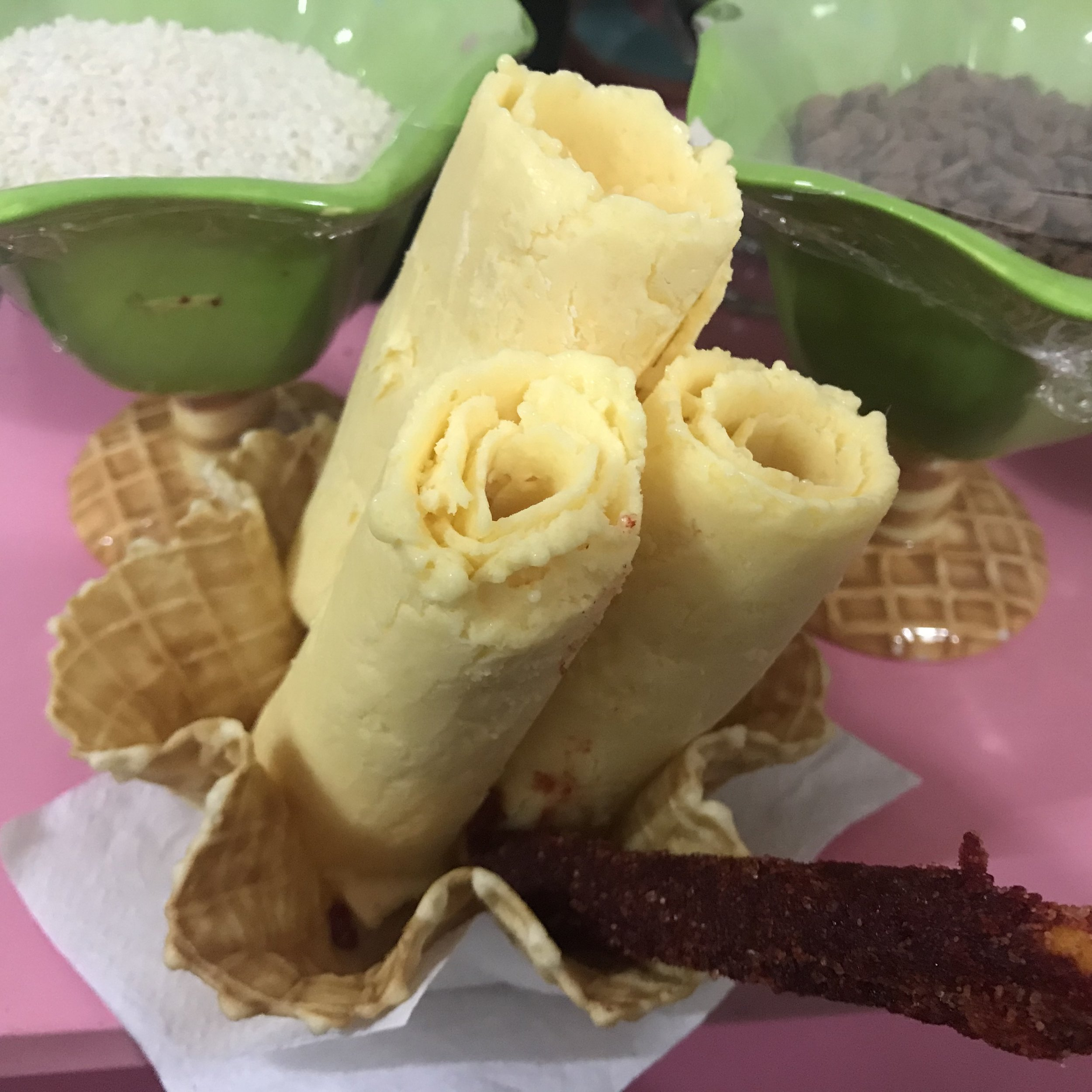 Why did this place come up as the very best ice cream in Oaxaca? After a long dark search we found the ice cream shop. It turns out it's made of soy milk in this super strange process. Not good at all!