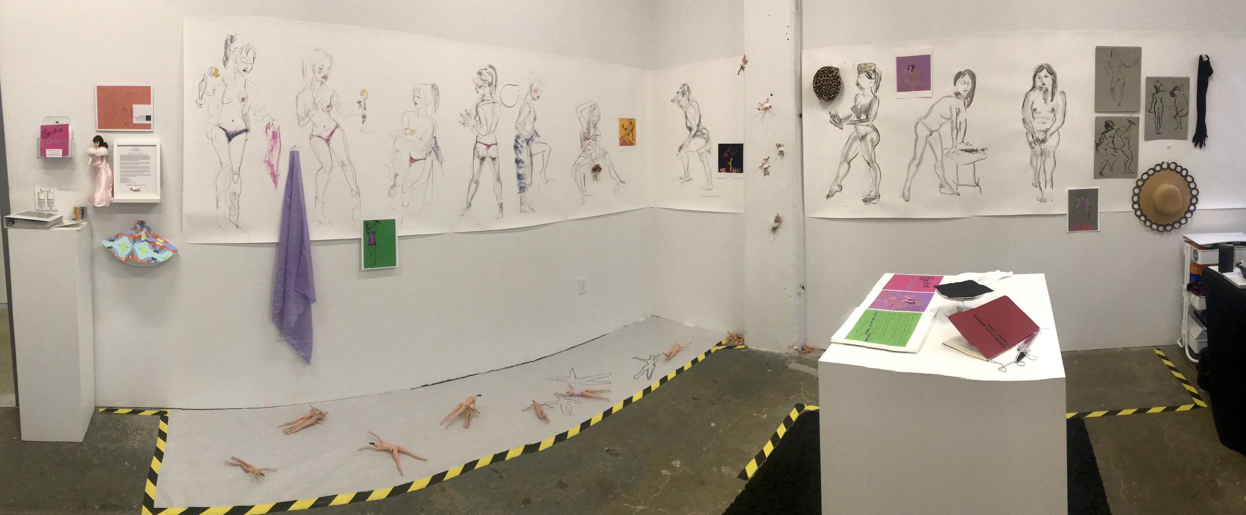 A work-in-progress art installation by Susan R. Kirshenbaum during her Black & White Projects (BWP) Art Residency, April 2019, San Francisco, CA