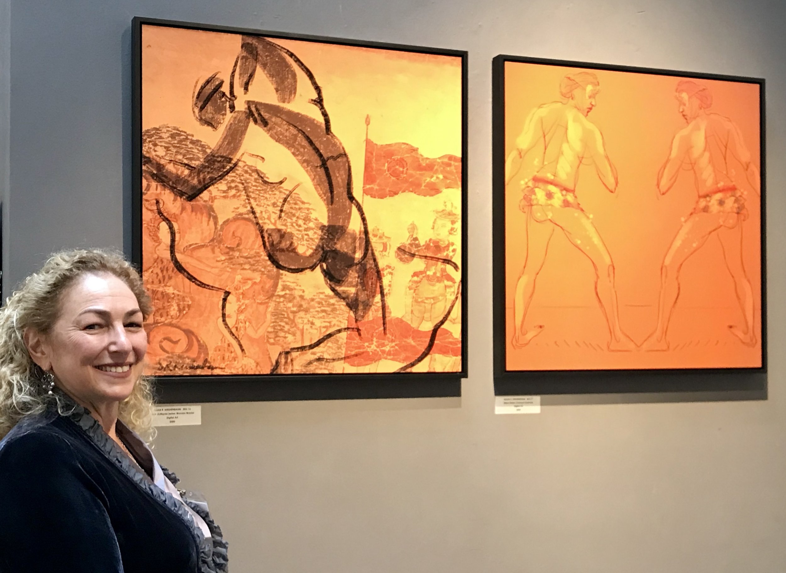 "SFWA reception next to my two pieces ""Woman Warrior"" and ""Karen at Carnaval"" in ""Celebrating Bay Area Culture"", May 2019"