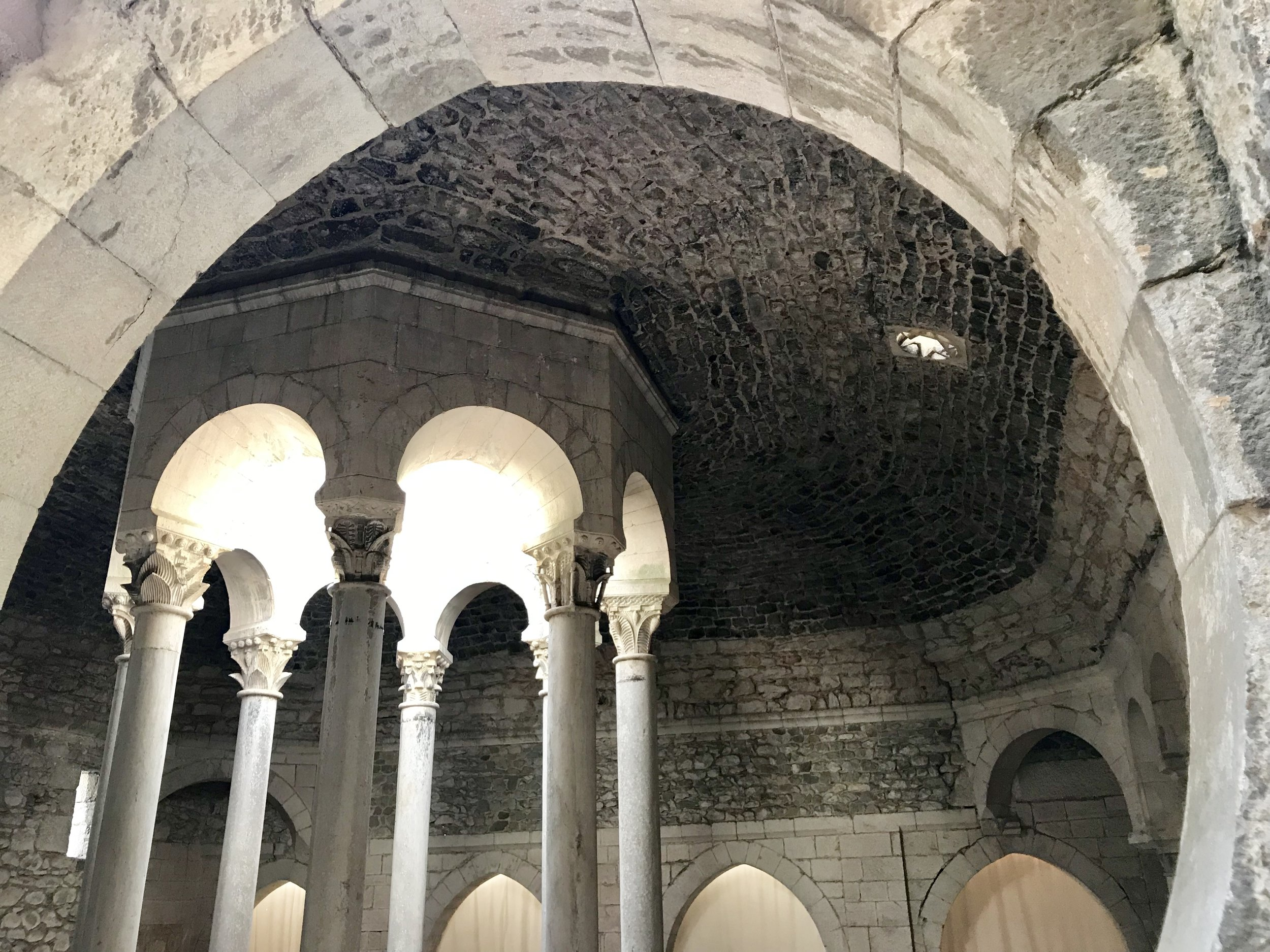"Girona's ""Banys Arabs"" are not actually Arab baths, yet they are quite old and in the style of the Moors (who were in Spain for a very long time)."