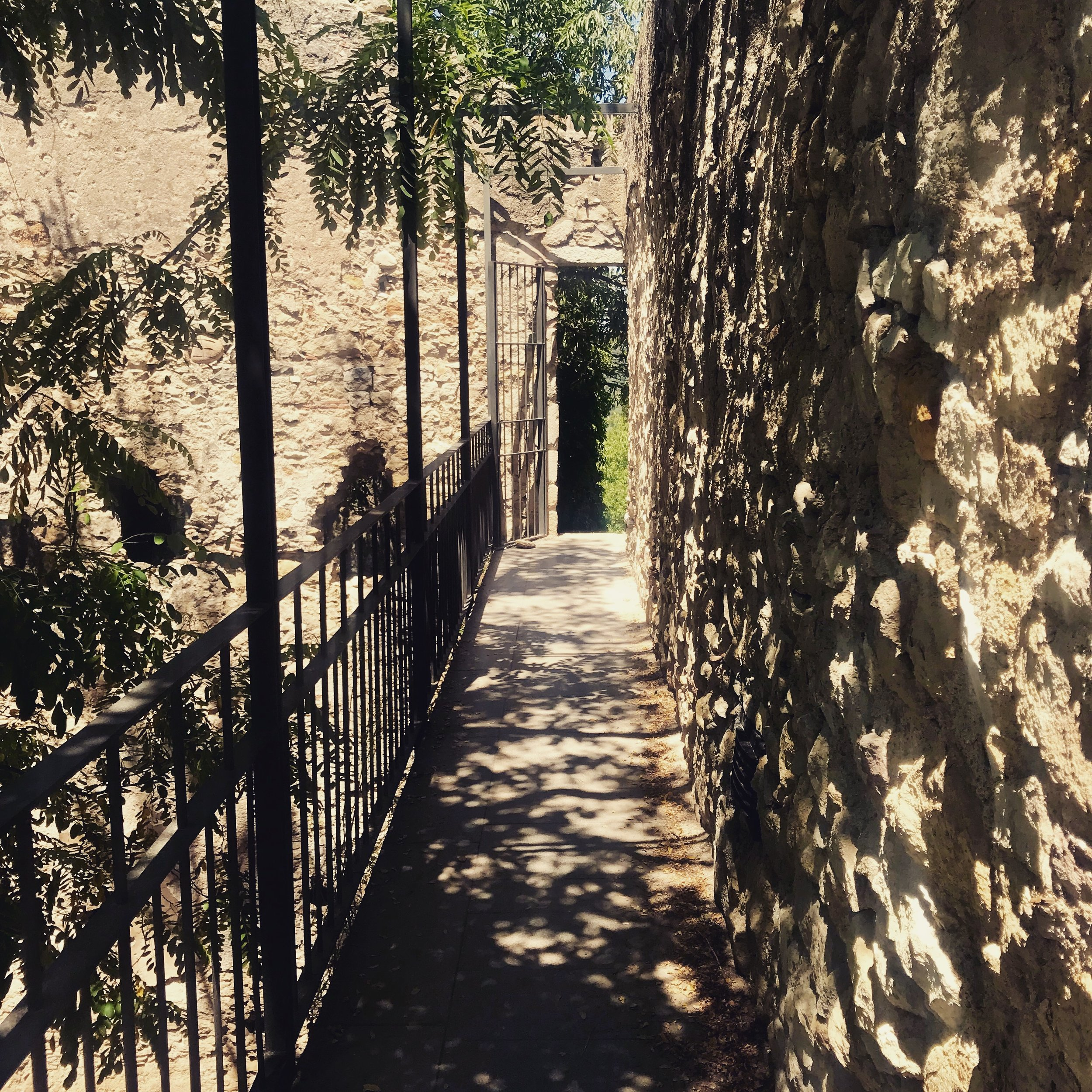 "Walking along ""the wall"" which partially surrounds Girona's Barri Vell (Old Quarter)."