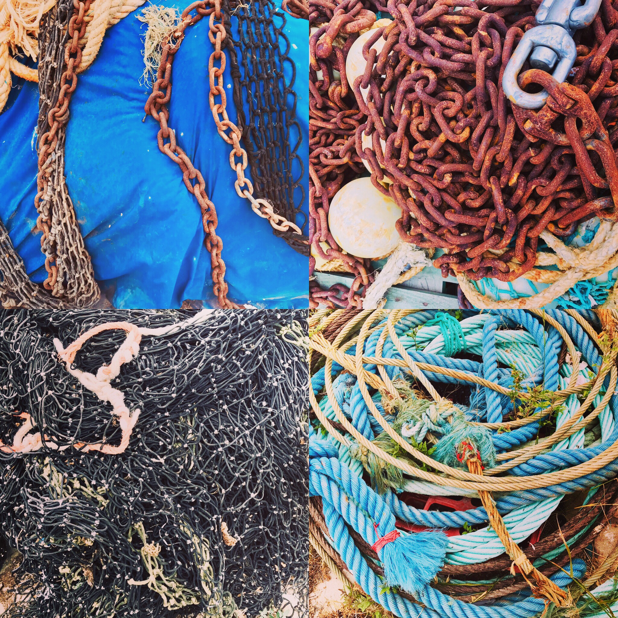 Close-ups of common sites at one of the many fishing docks.