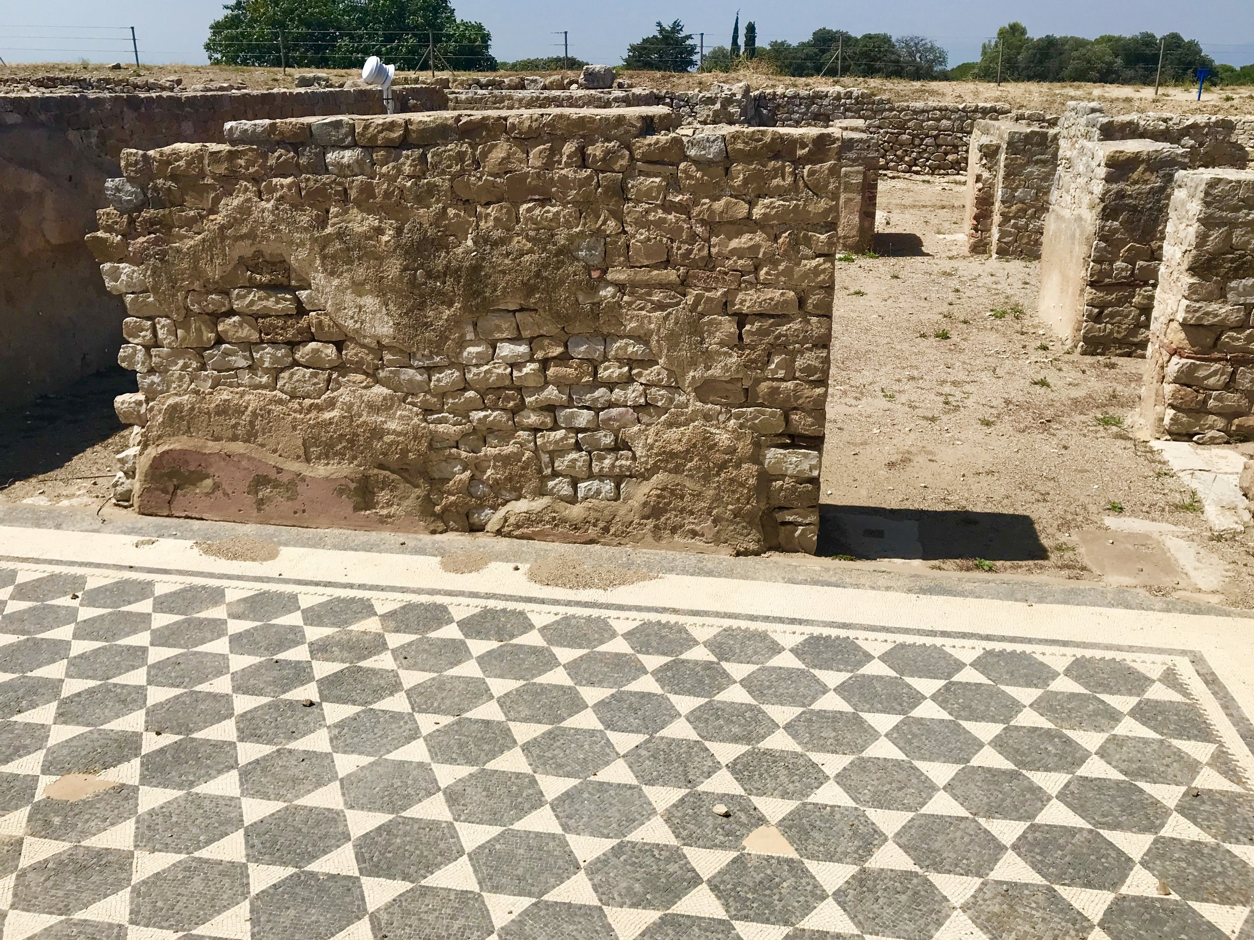 One of a multitude or fantastic mosaic floors in the Roman city ruins at Empúries.