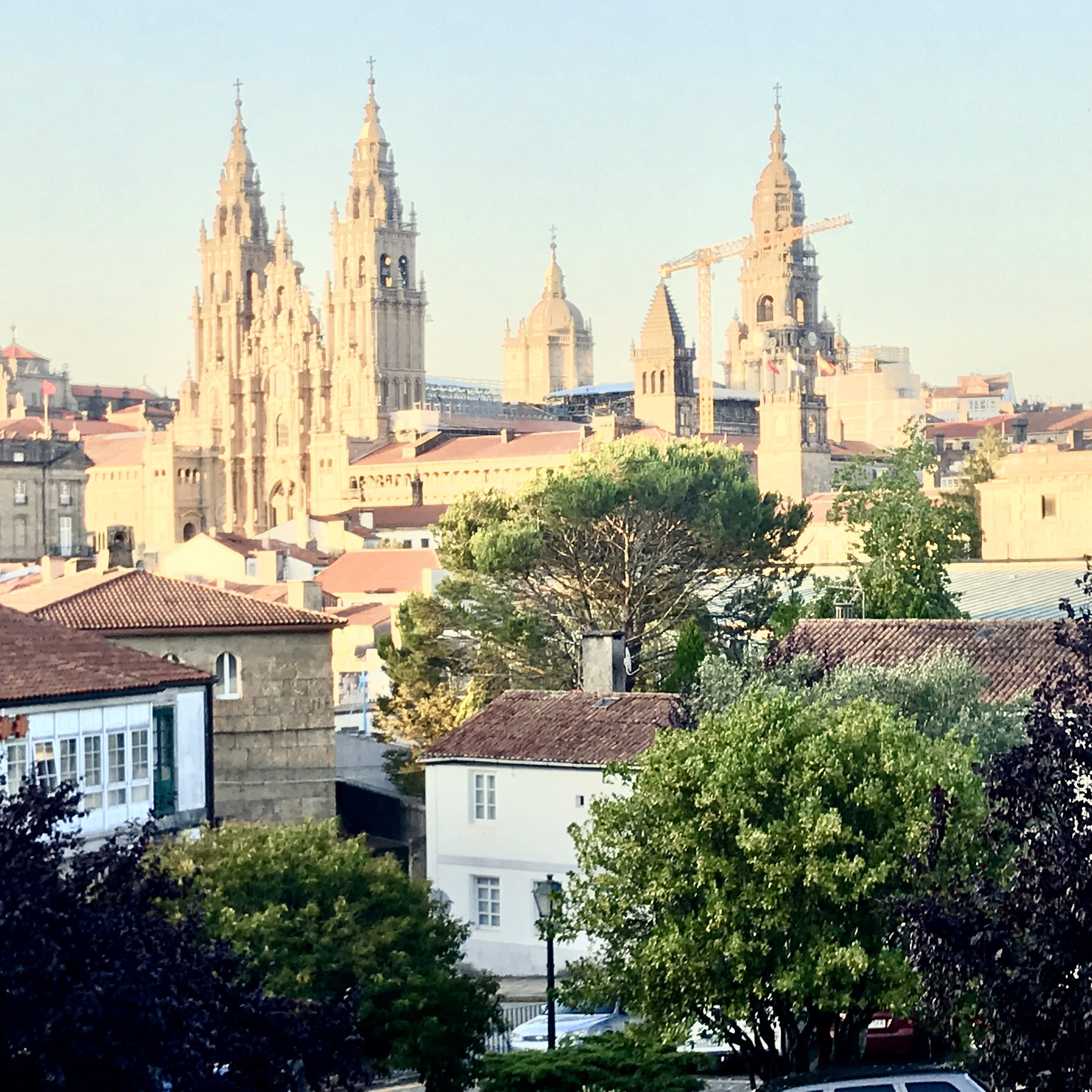View of the famous, golden cathedral from the park where week-long festivities were taking place in Santiago de Compostela.