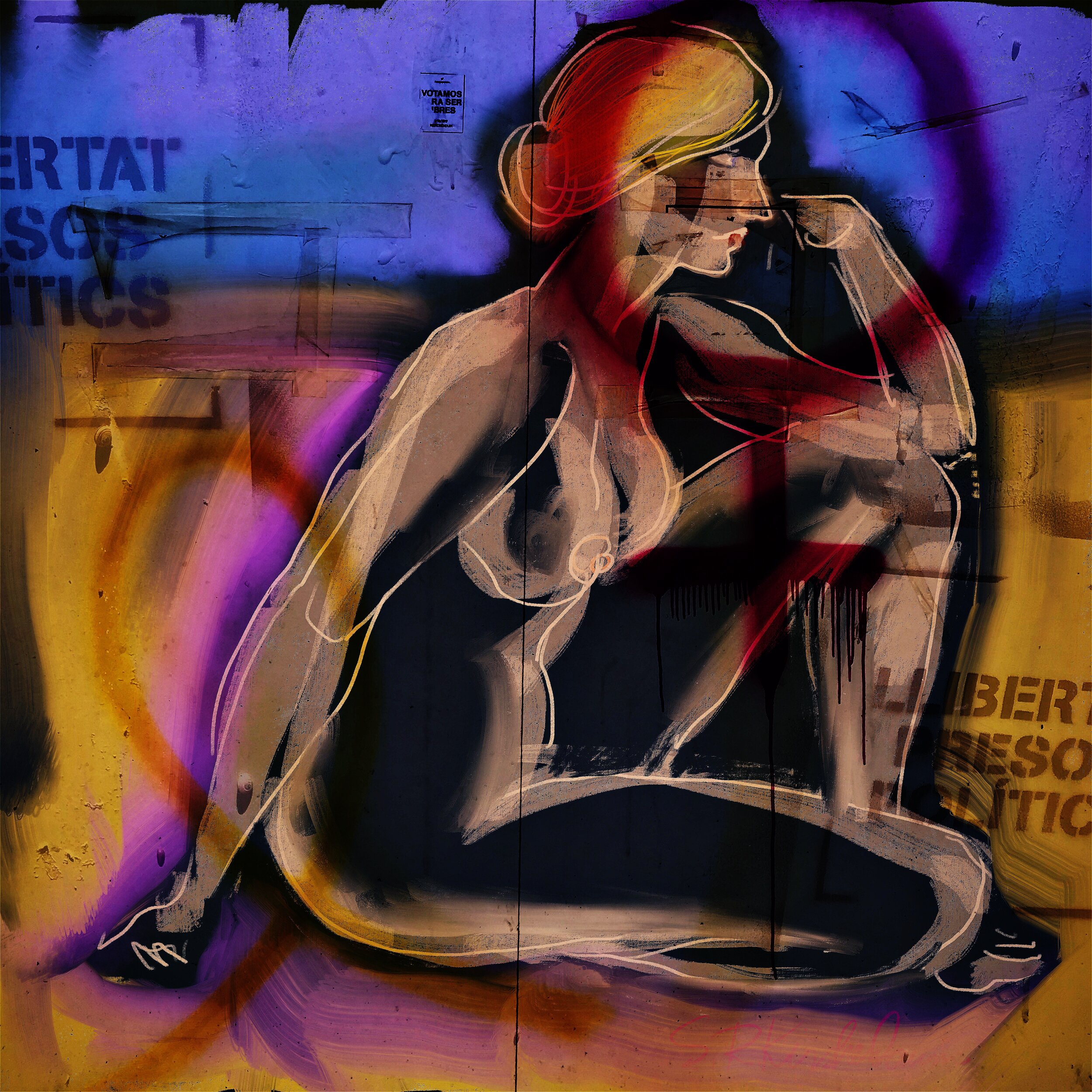 """Titled """"Llibertat"""" this collage combines a figure drawing with photos of walls near Girona, Catalonia, Spain. The walls (there are several) reference the on-going struggles for independence and gender equity."""