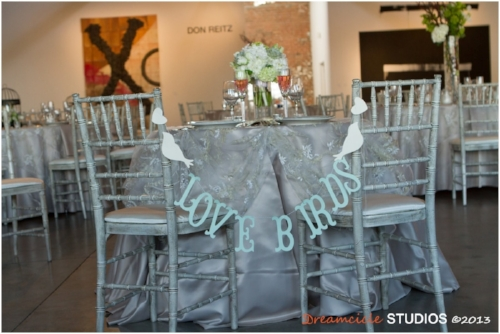 Lovebird's themed sweetheart table designed with Sweet I Do's Wedding Day Management Specialists at Bentley Projects in Phoenix Arizona