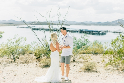 Bride and groom first look at Lake Pleasant Arizona, wedding planned and coordinated by by Sweet I Do's Wedding Day Management Specialist