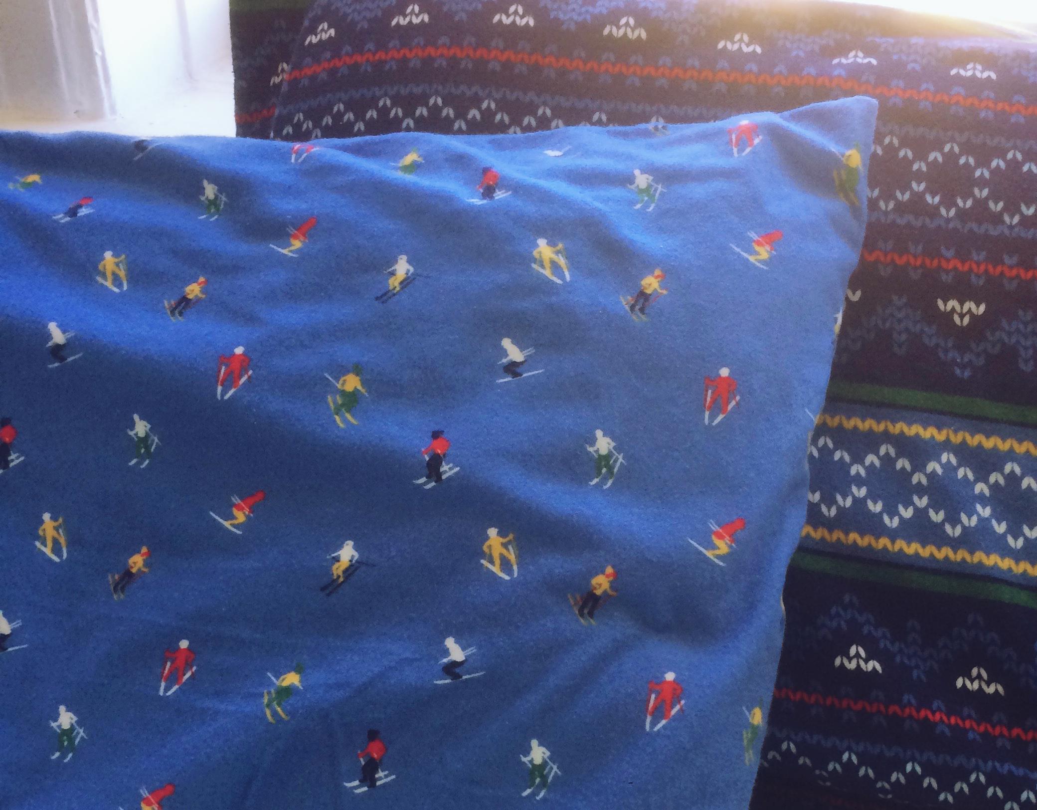 Skiers Flannel Sheet Closeup