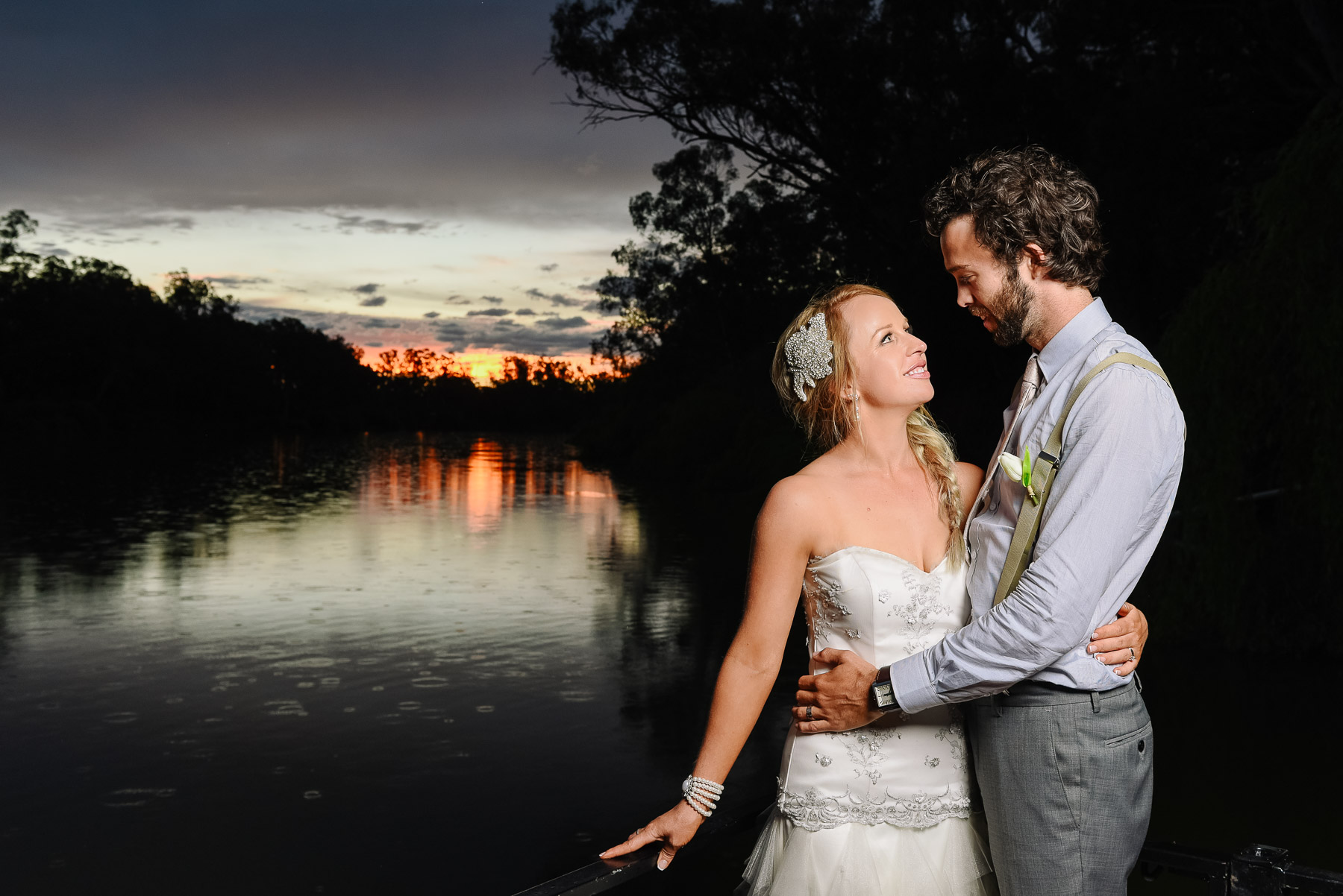 Sunset Wedding Photography by the Murray River at Perricoota Station Echuca