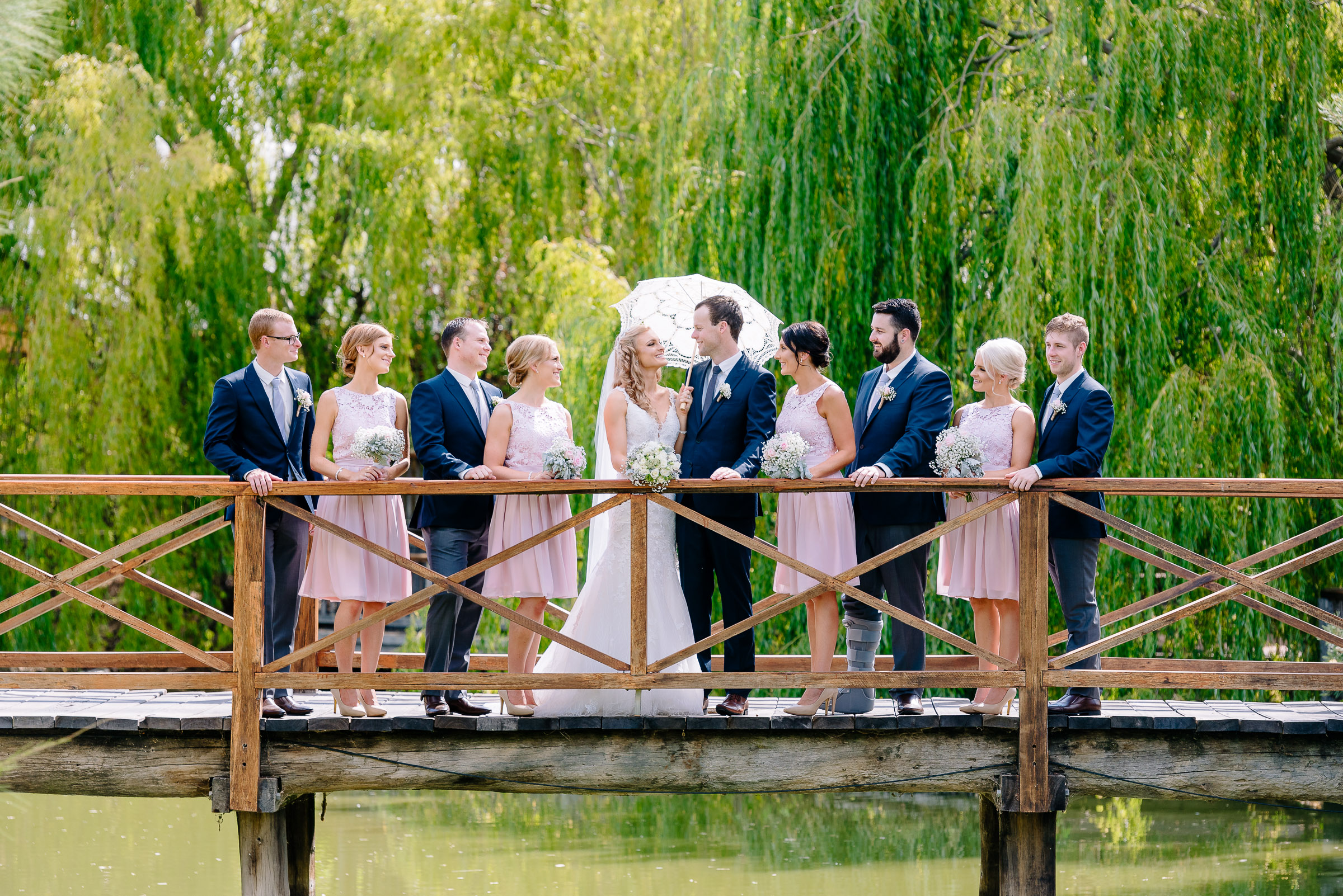 Perricoota Vines Wedding Photographer Echuca Moama Bridal Party Bridge