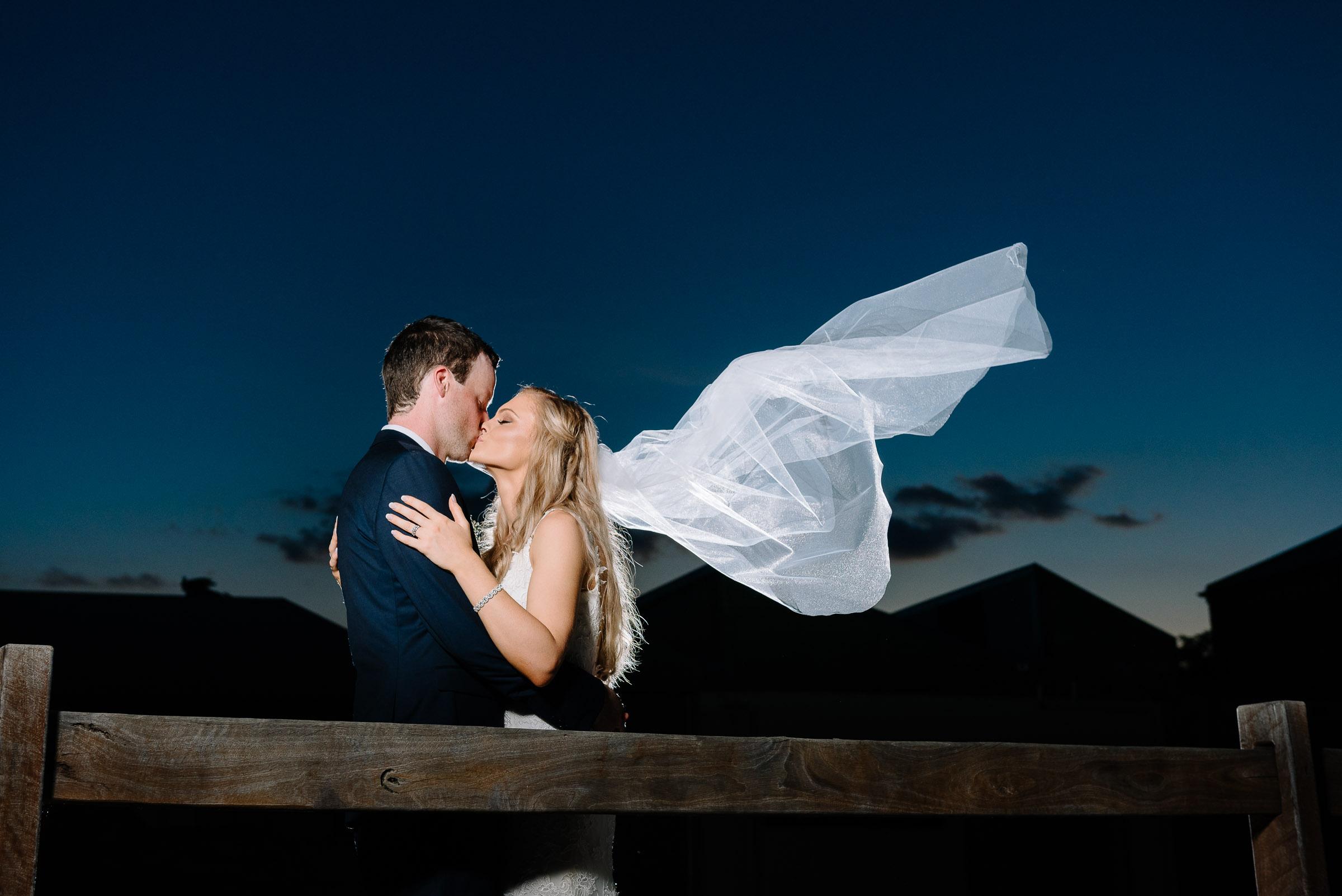 Sunset Flying Veil at Historic Port of Echuca - Radcliffes Wedding Photographer Echuca