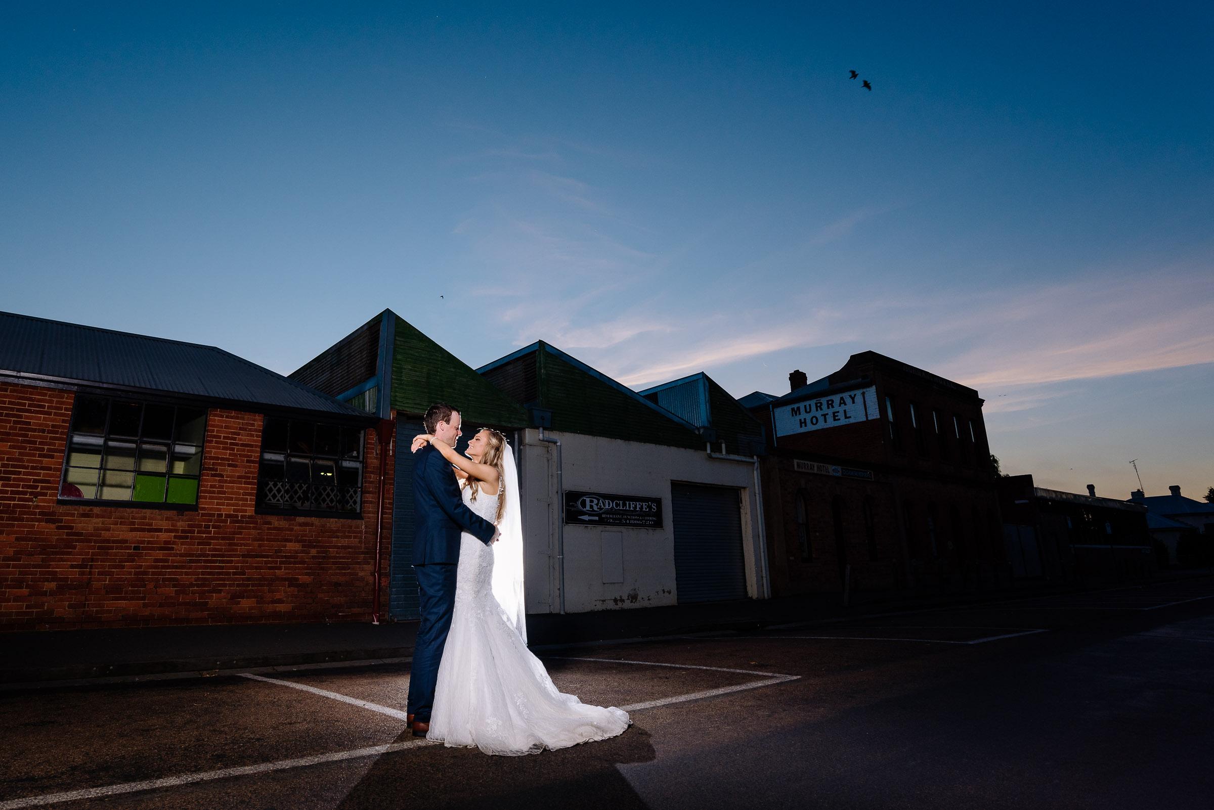 Sunset Wedding Photography Port of Echuca -  Radcliffes Wedding Photographer Echuca