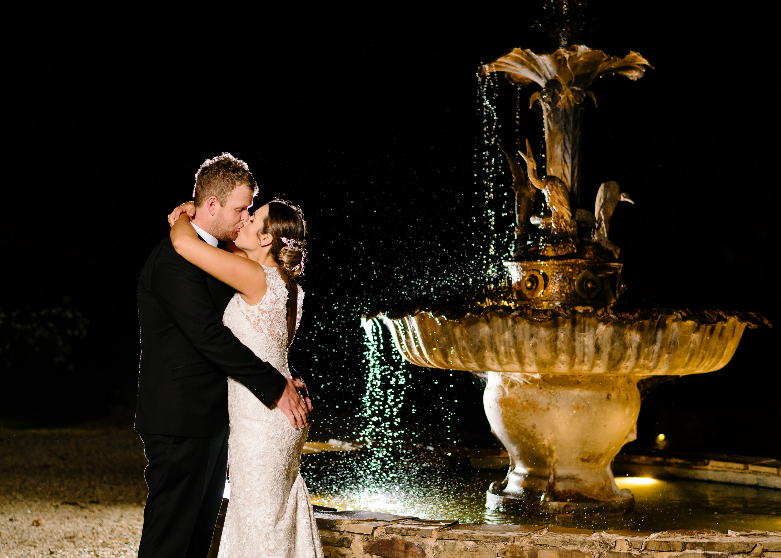 Sault Daylesford Wedding Photography Night Fountain