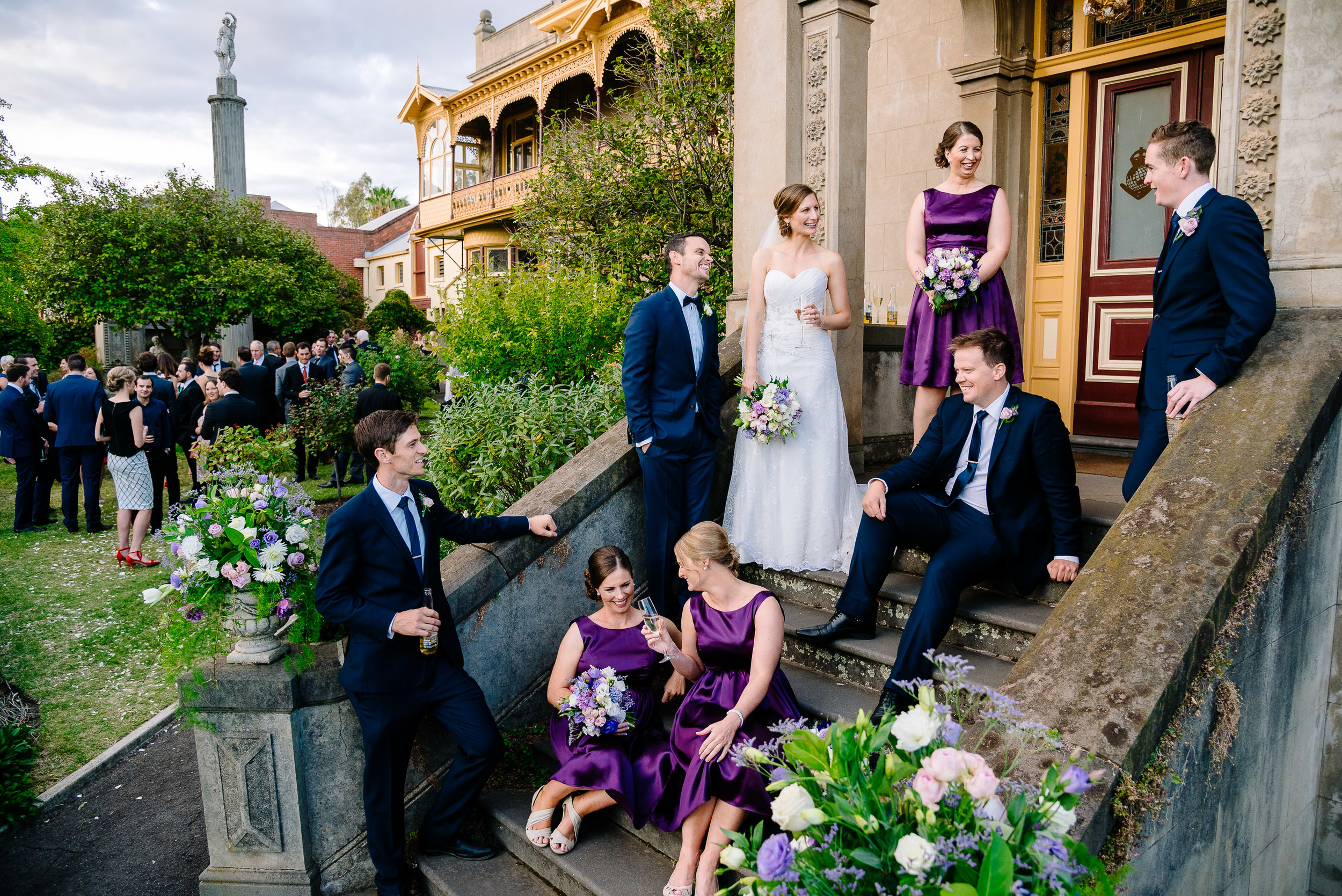 Wedding Party on the steps of Fortuna Villa Bendigo